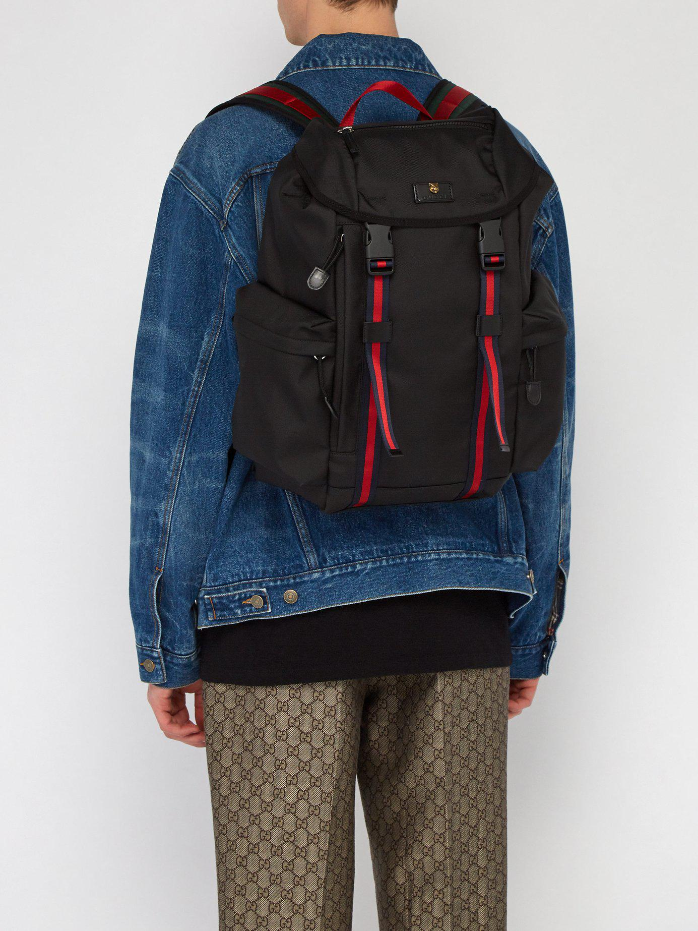 8e6dd21a319c Gucci Techno Web Stripe Canvas Backpack in Black for Men - Lyst