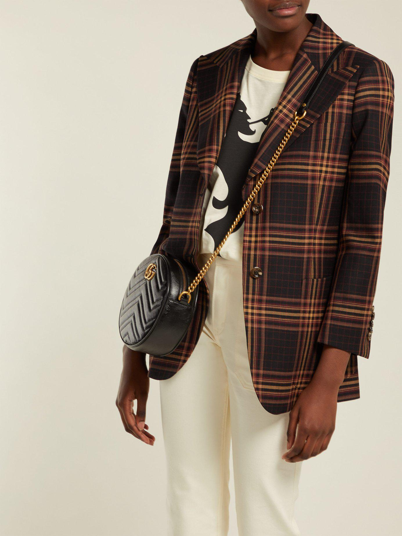 a0cbe07c4f Gucci - Black Gg Marmont Circular Leather Cross Body Bag - Lyst. View  fullscreen