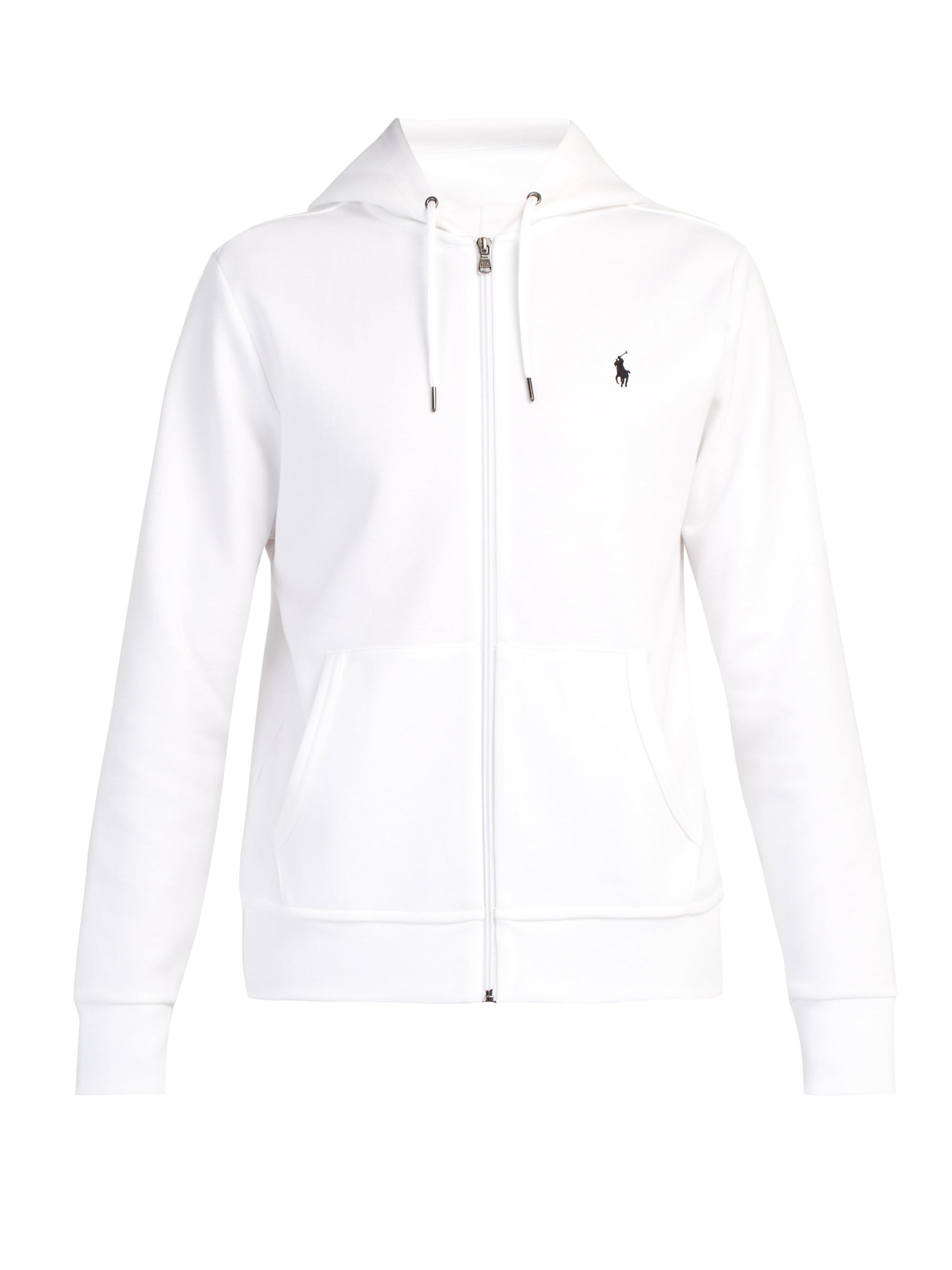 23e71cf7b308c Polo Ralph Lauren. Men s White Logo Embroidered Zip Through Hooded  Sweatshirt