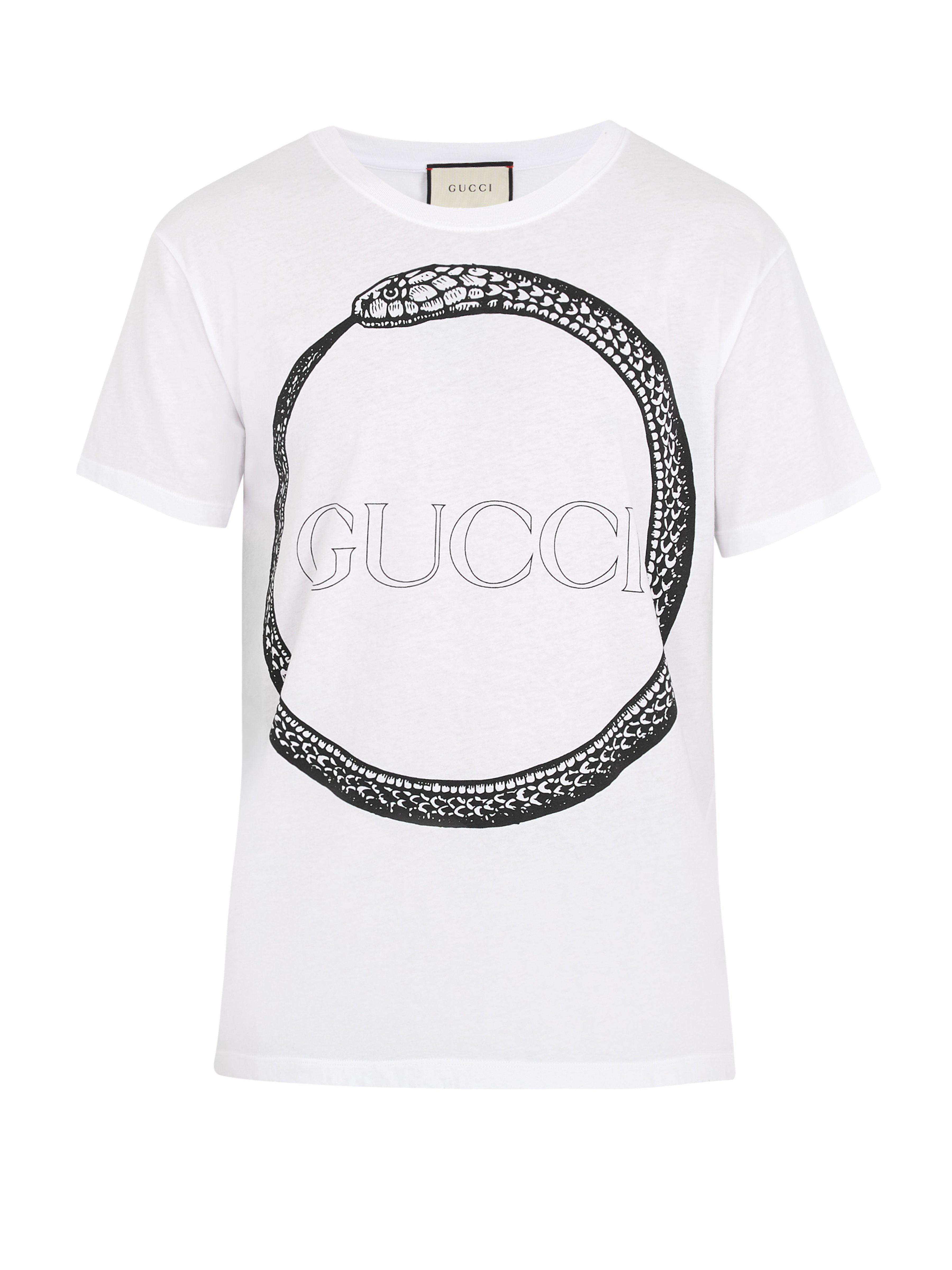 332026510fbbce Gucci Snake And Logo-print Cotton T-shirt in White for Men - Lyst