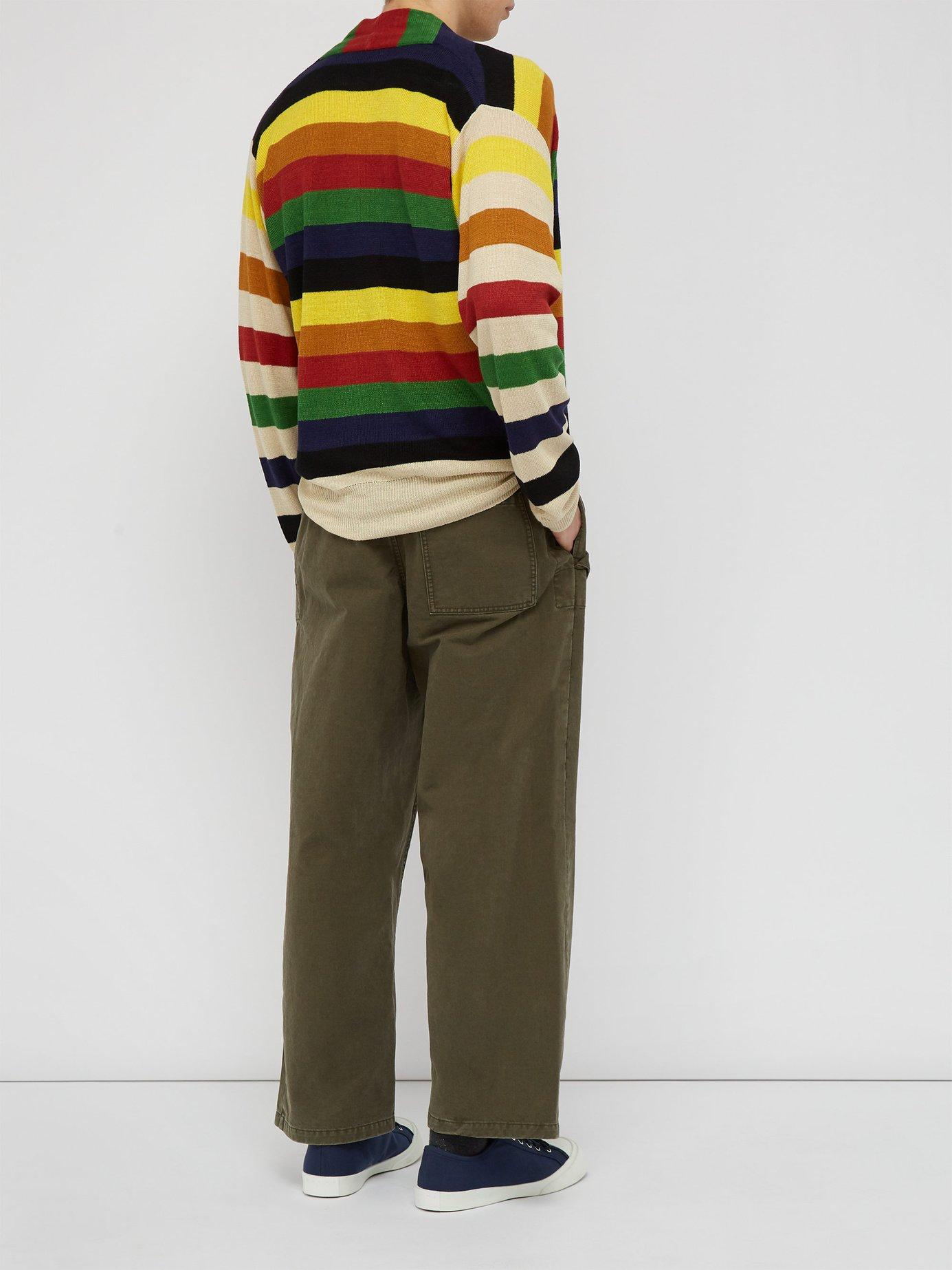 4539a8111 Lyst - JW Anderson Papaya Striped Knit Linen Sweater for Men