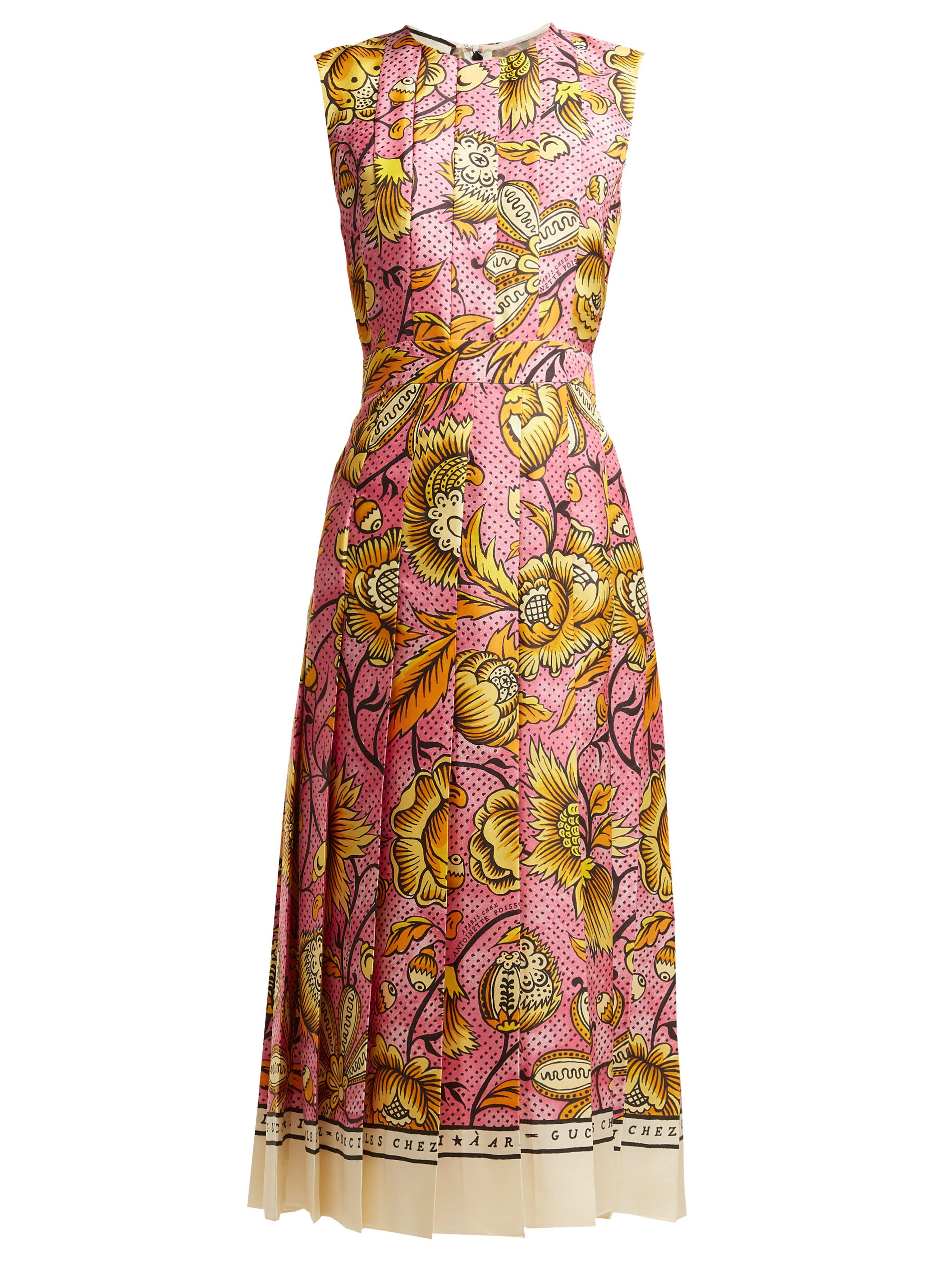 c3d1e6593 Gucci Sleeveless Watercolor-floral Silk Midi Dress in Pink - Save 28 ...