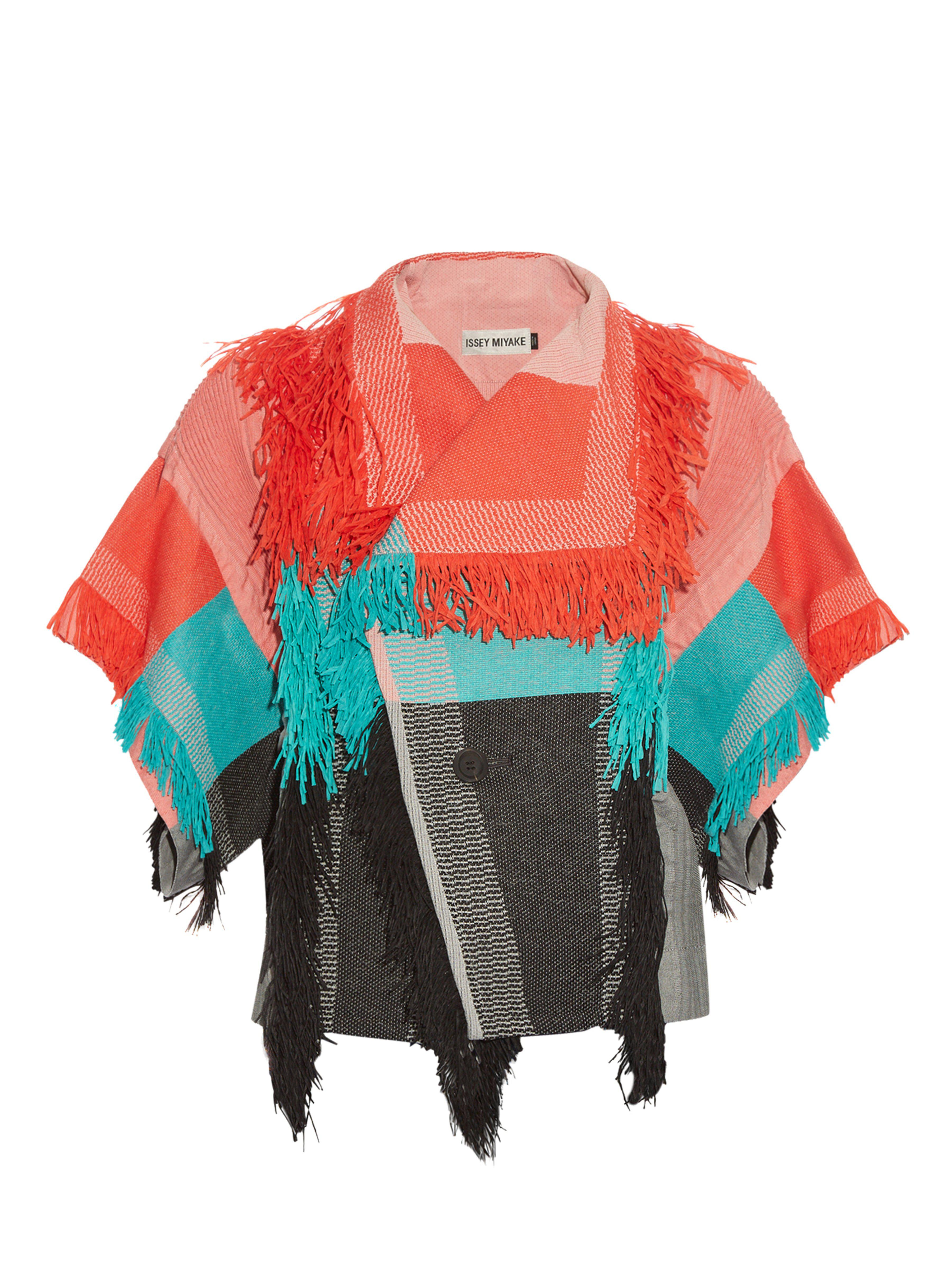Jacket in Fringed Parrot Blue Issey Lyst Cotton Miyake Blend Ax4vOWwTq