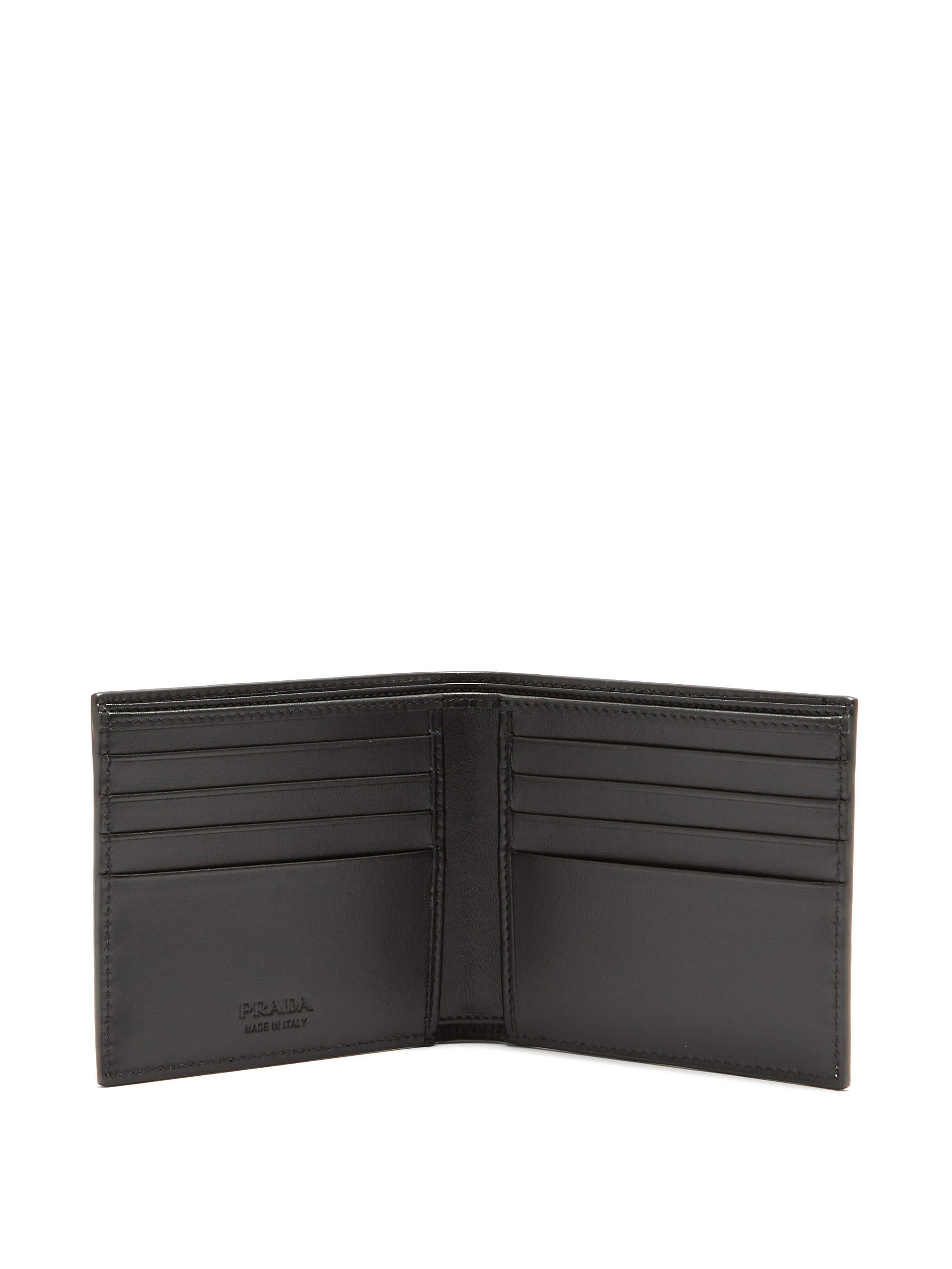 a65ba84bbf39 Prada - White Logo Print Bi Fold Leather Wallet for Men - Lyst. View  fullscreen