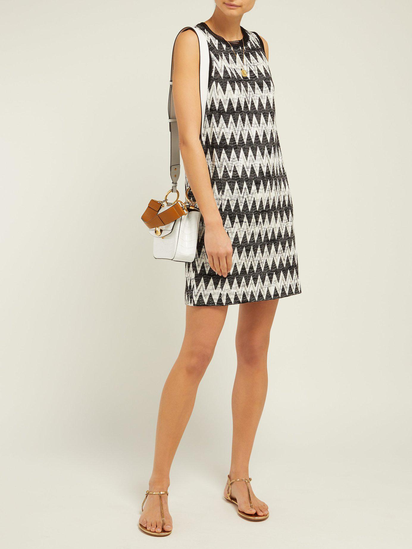 89a677f5f54 Missoni Zigzag Knit Mini Shift Dress in Black - Lyst