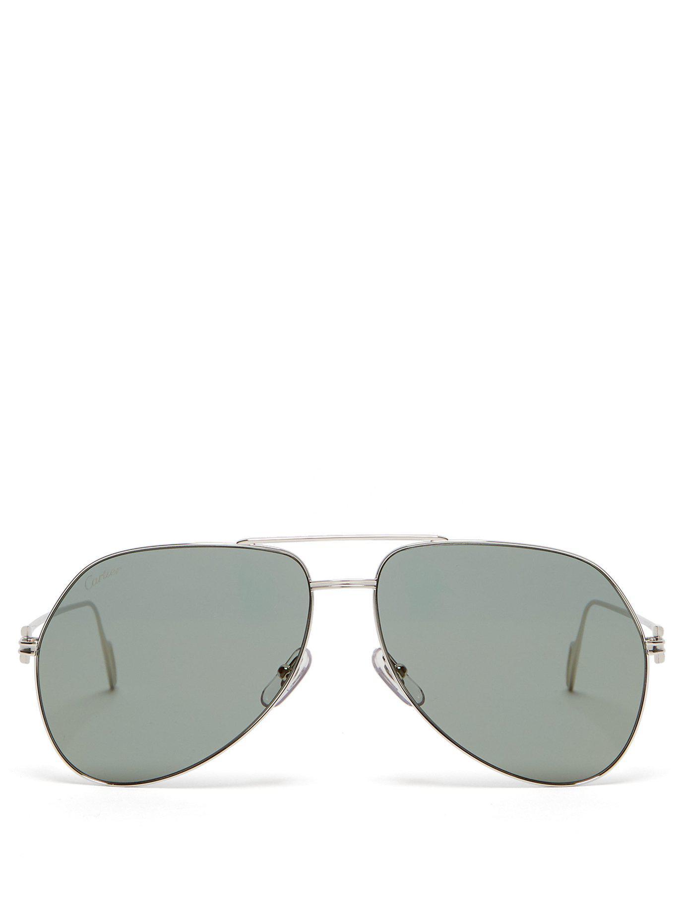 f72b81b34cd35 Lyst - Cartier Aviator Metal Sunglasses in Metallic for Men