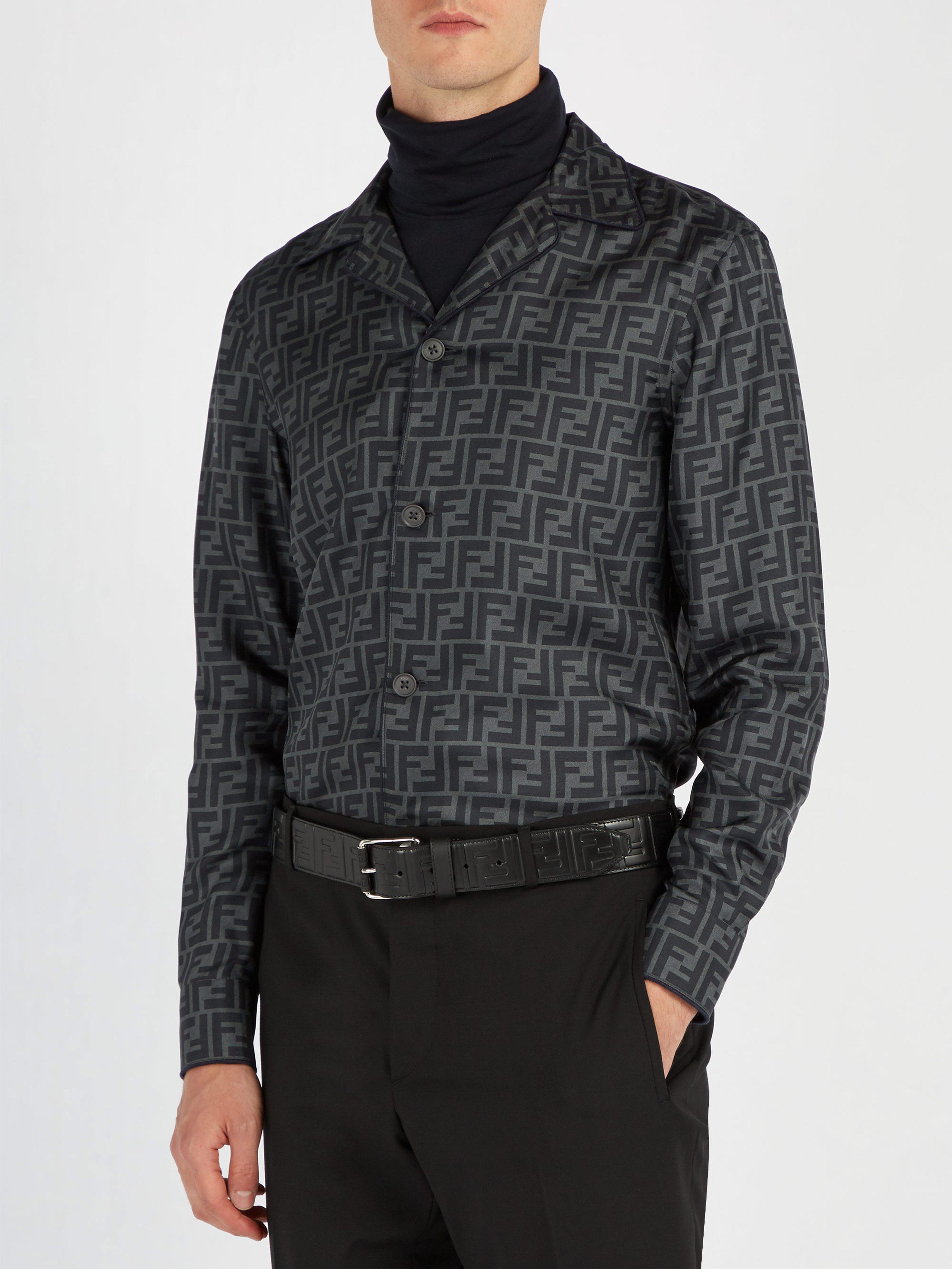 25e71ff7c4f Lyst - Ceinture en cuir à logo embossé Fendi pour homme en coloris Noir