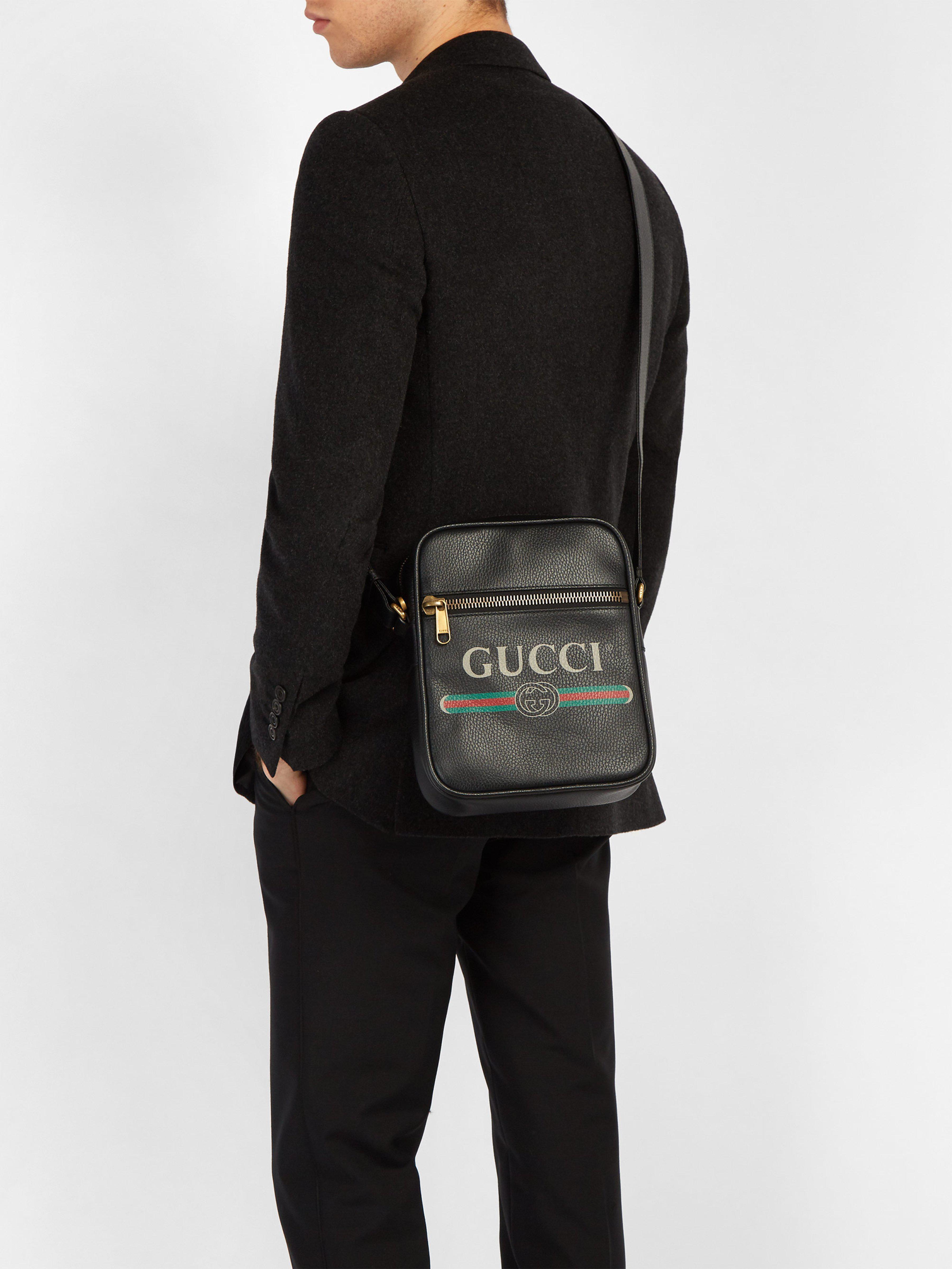 Lyst - Sac rectangulaire en cuir grainé à imprimé logo Gucci pour ... 56b781febee