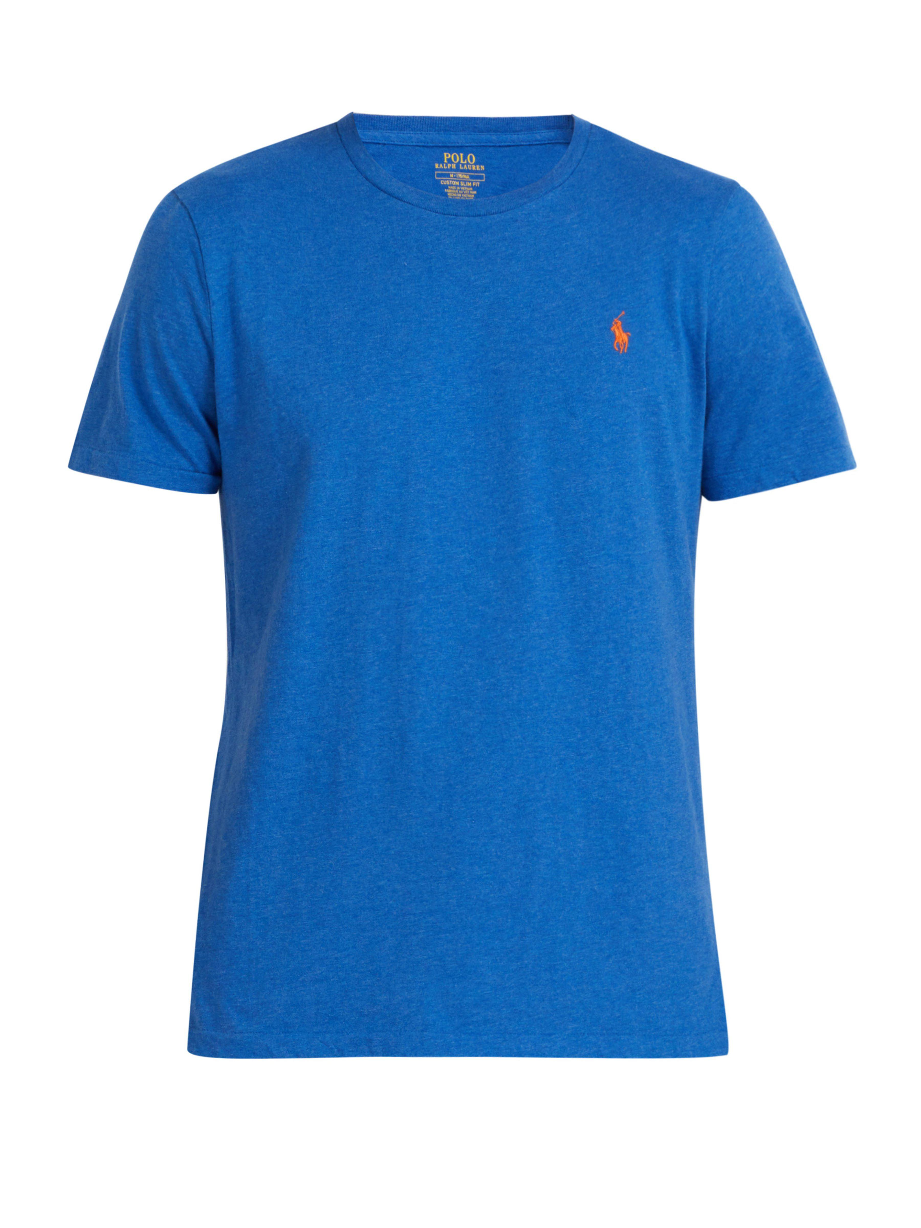 d88bd9ae2618b Polo Ralph Lauren - Blue Logo Embroidered Cotton Jersey T Shirt for Men -  Lyst. View fullscreen