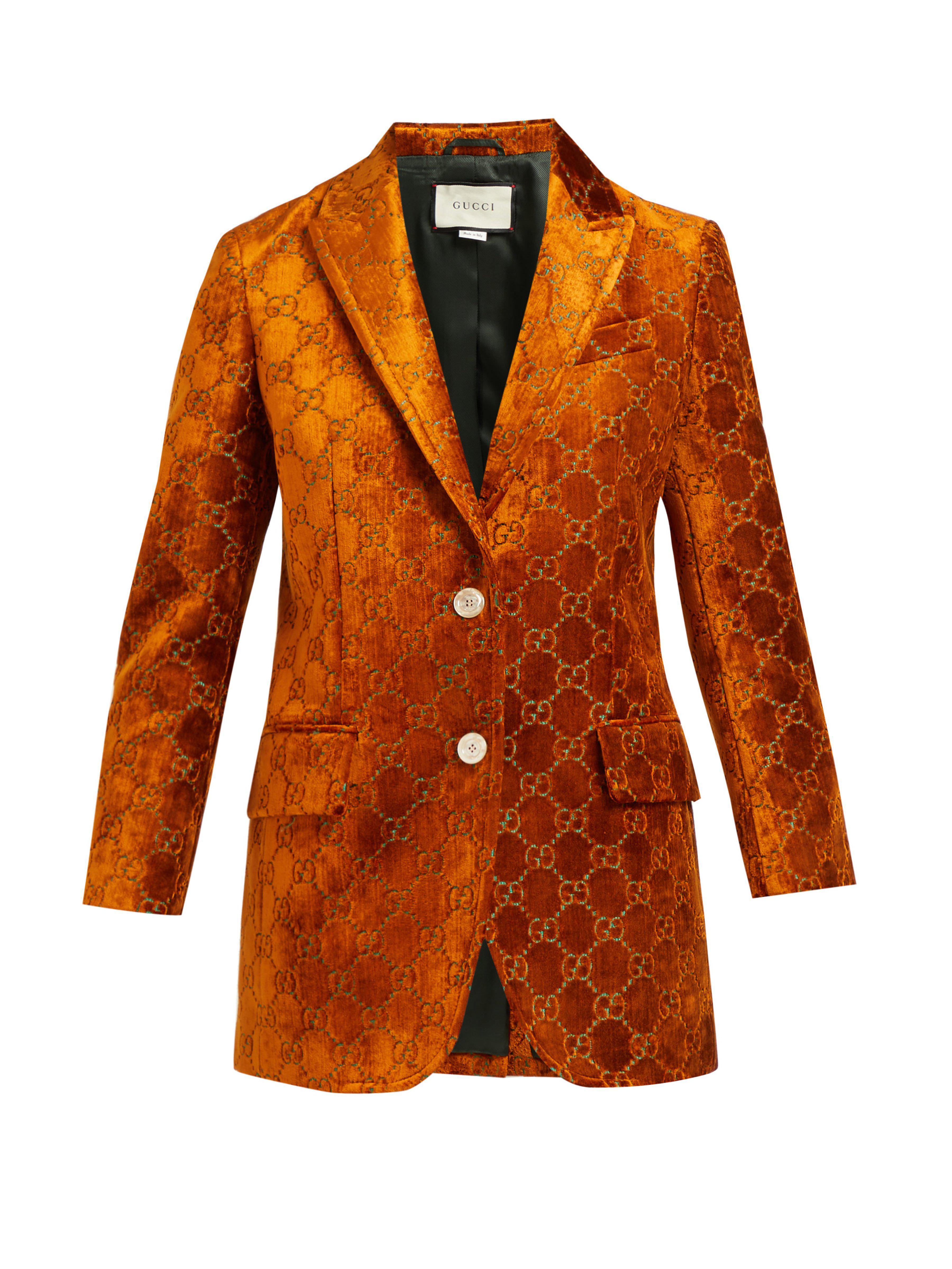 a47b367a4 Gucci - Brown GG Velvet Jacket - Lyst. View fullscreen