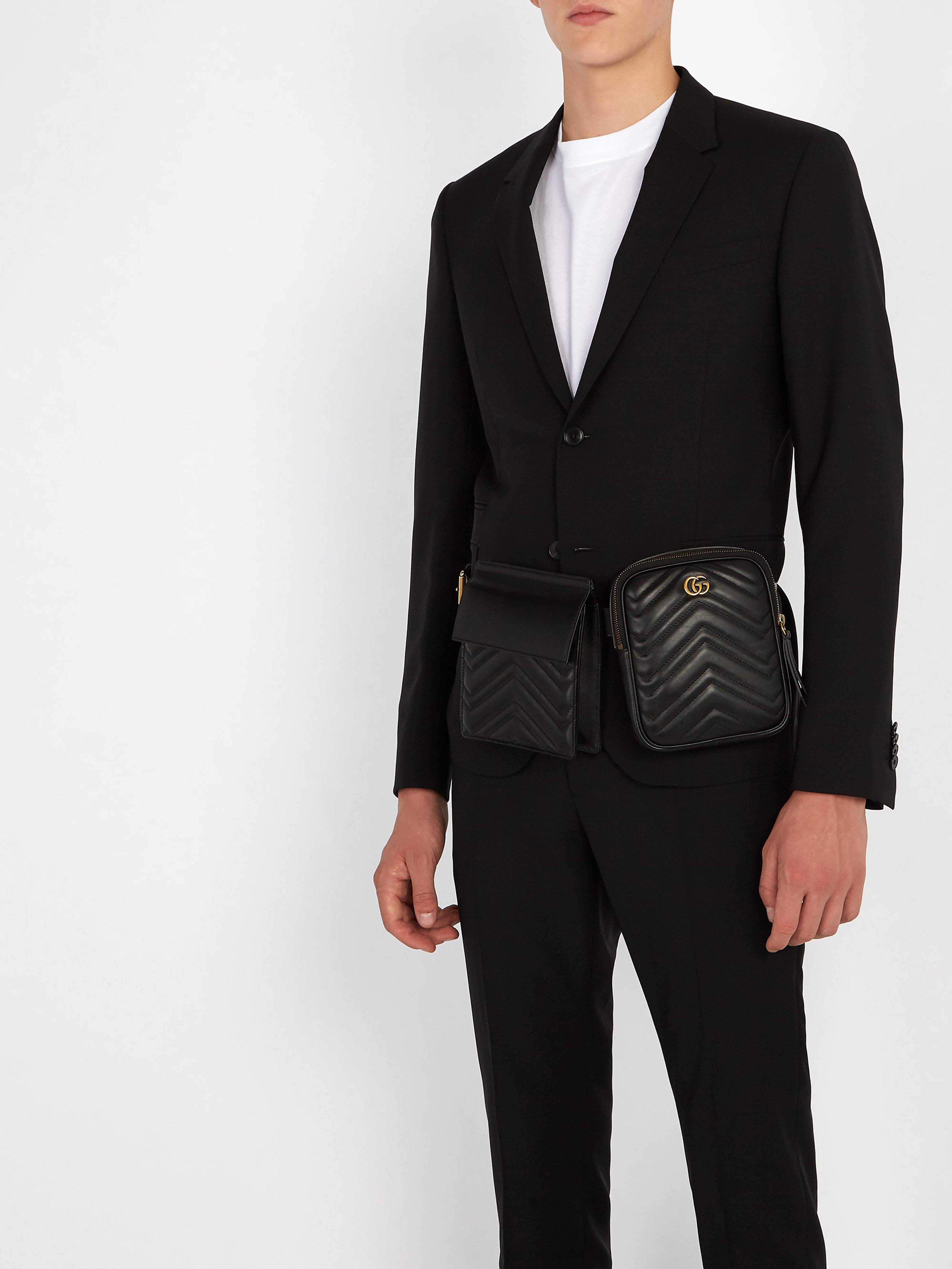 a11066d02762 Gucci Gg Marmont Leather Belt Bag in Black for Men - Lyst
