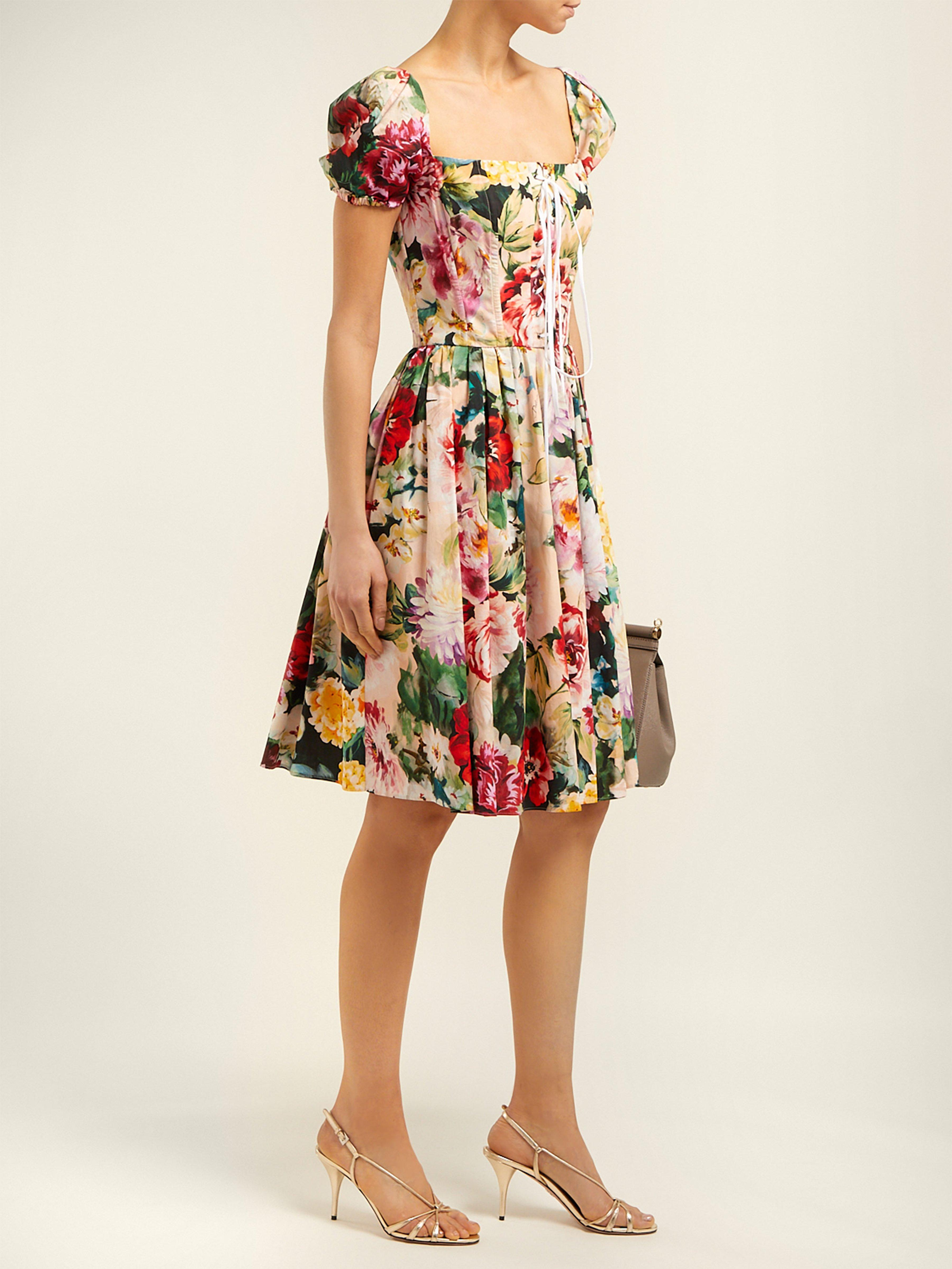 Dolce   Gabbana - Multicolor Floral Cotton Minidress - Lyst. View fullscreen 652aa90e1