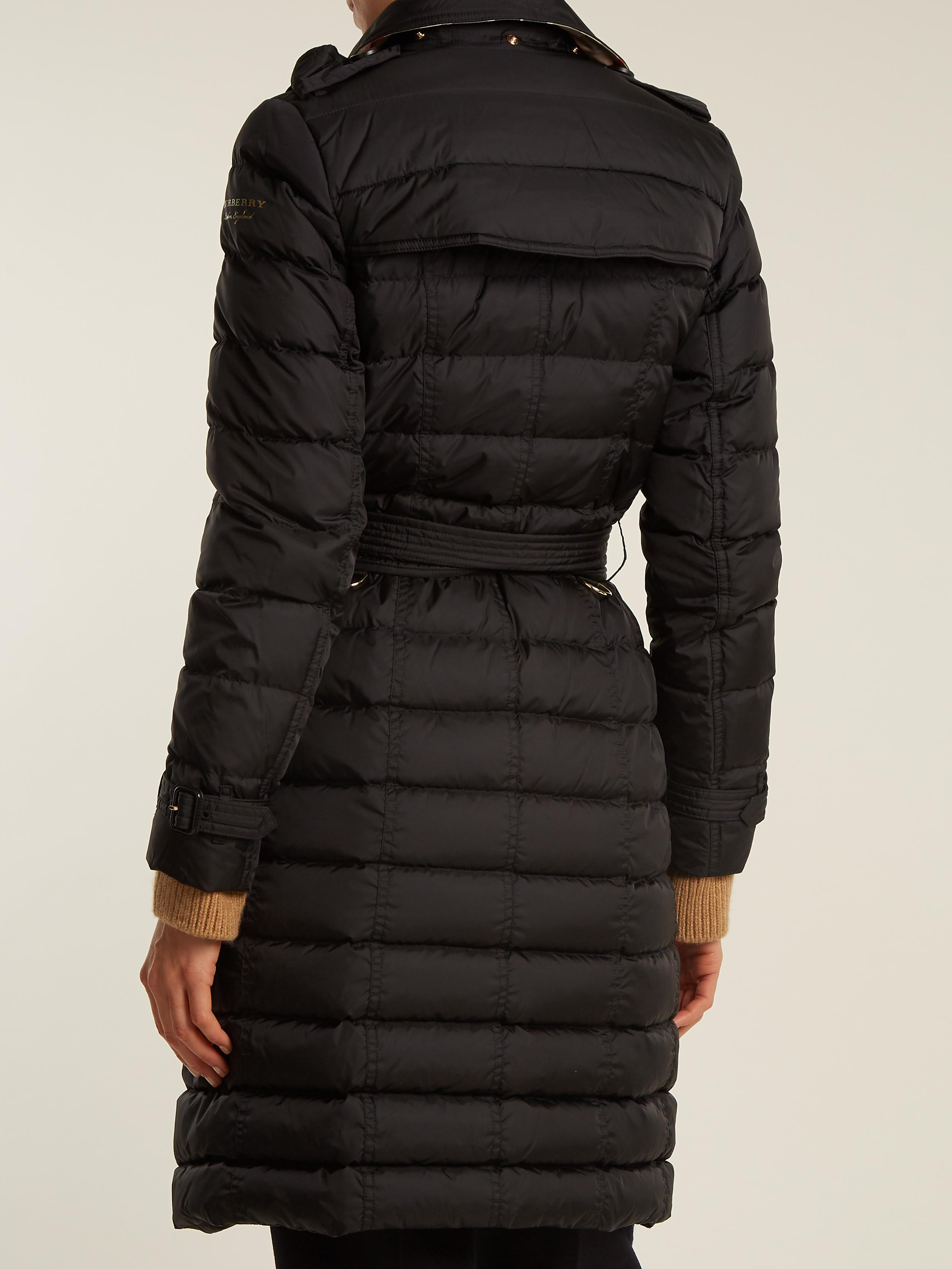 Lyst Burberry Dalmerton Fur Trimmed Belted Quilted Down Coat In Black