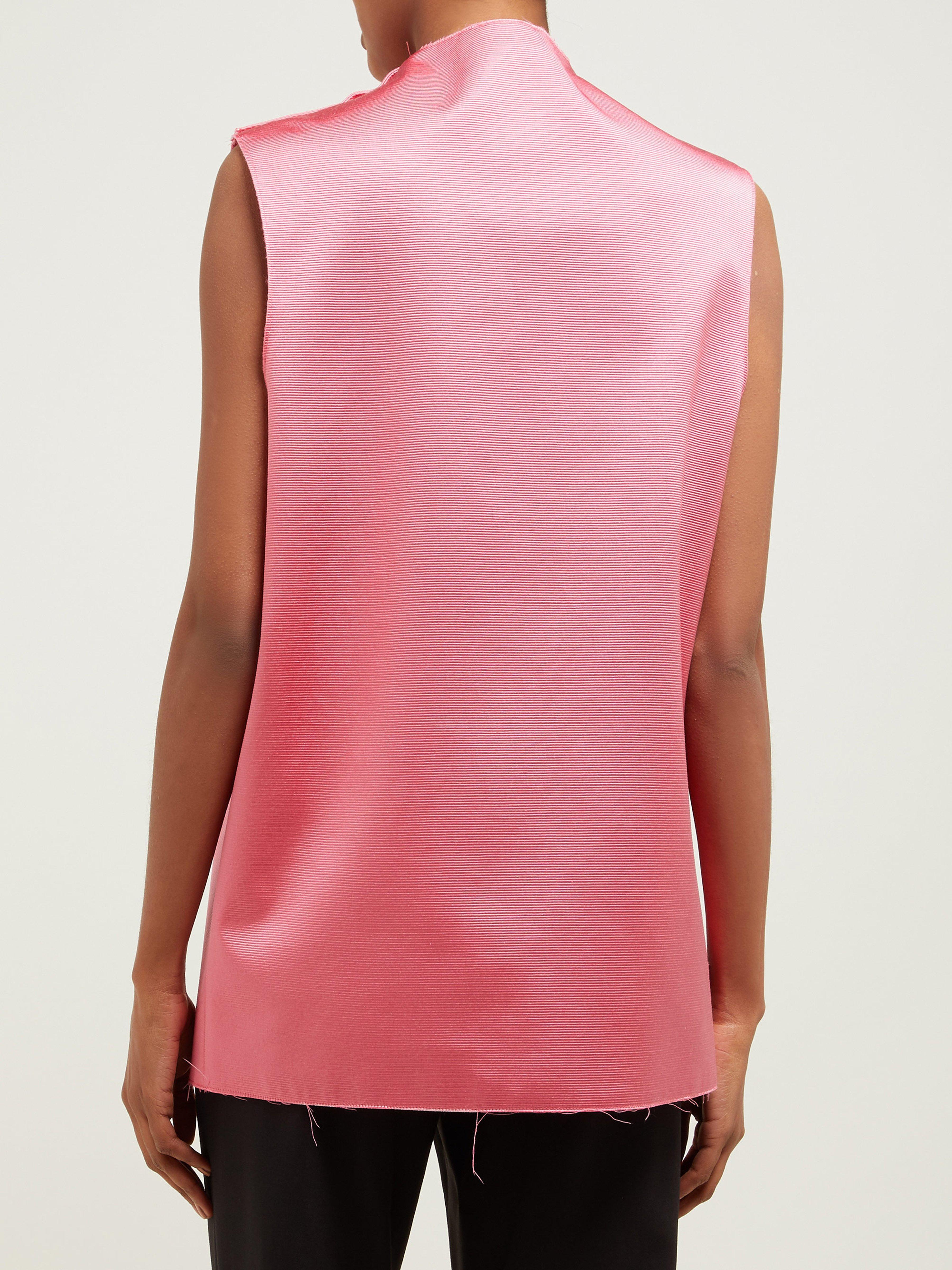 0fe16ba0c15b9e Raf Simons - Pink Photographic Print Sleeveless Silk Blend Top - Lyst. View  fullscreen