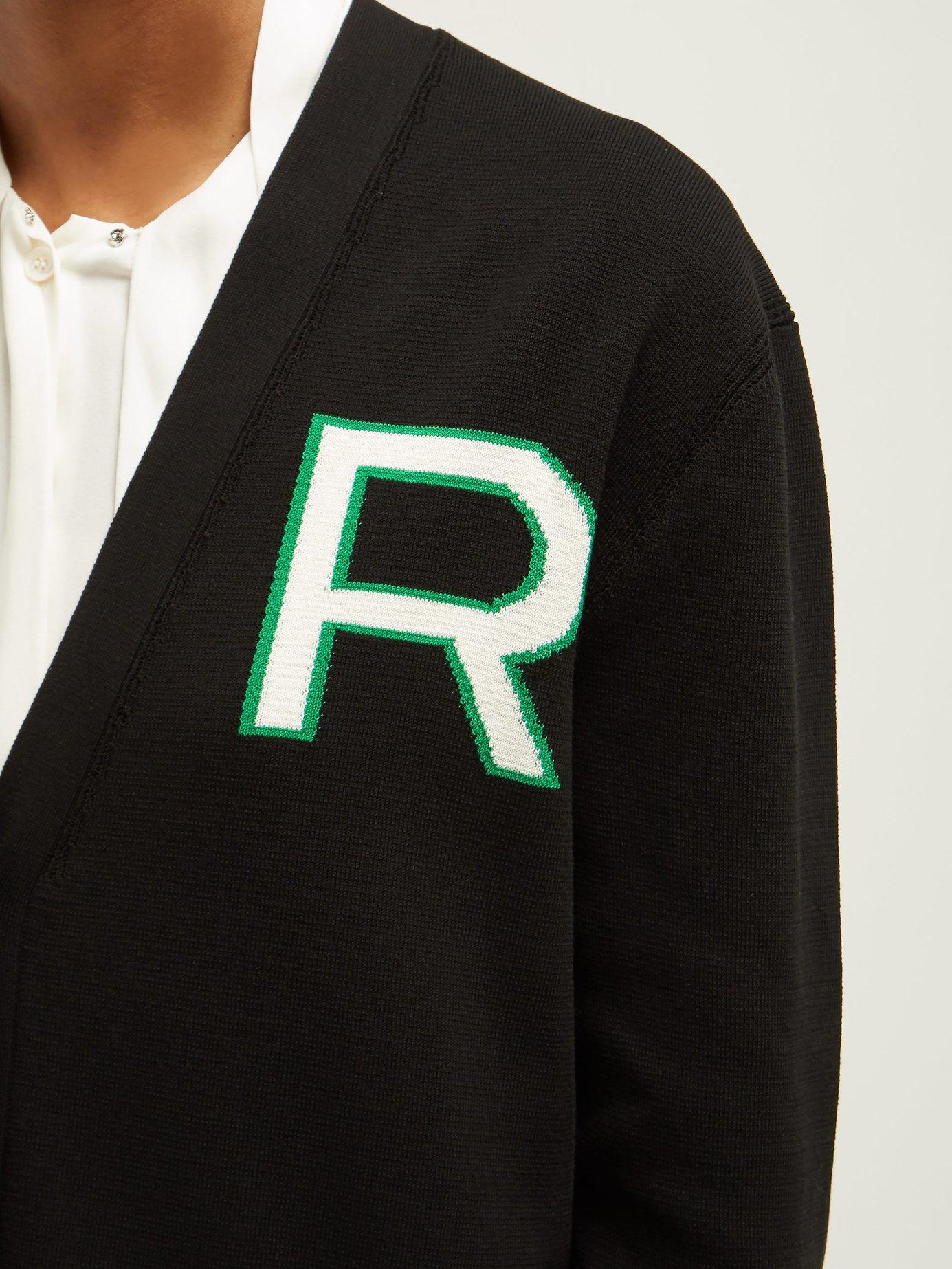 2beff9ad18 Rochas - Black Logo Intarsia Knitted Cotton Cardigan - Lyst. View fullscreen