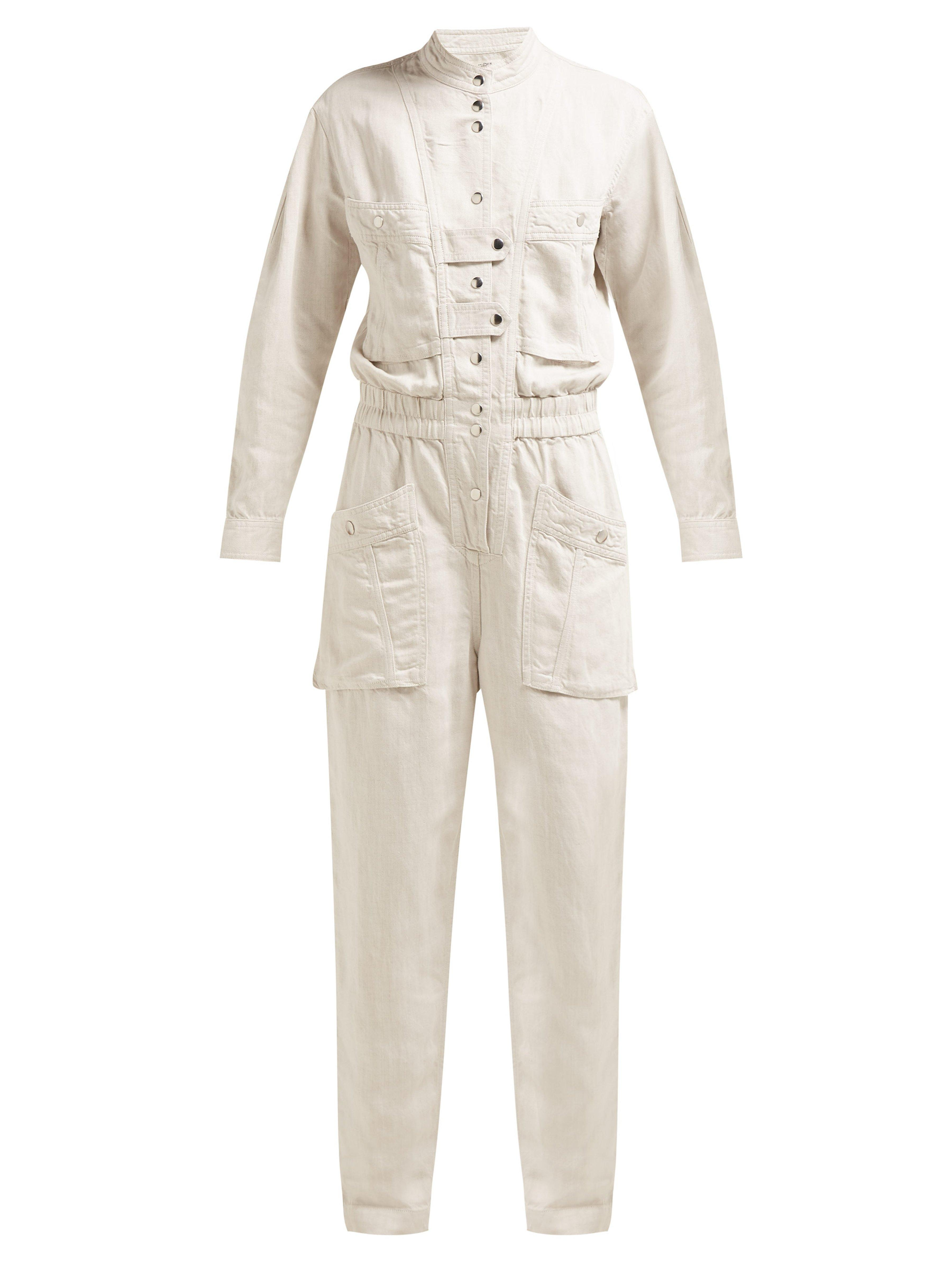 c8c91779c44b Étoile Isabel Marant Lashay Linen Blend Jumpsuit in White - Lyst