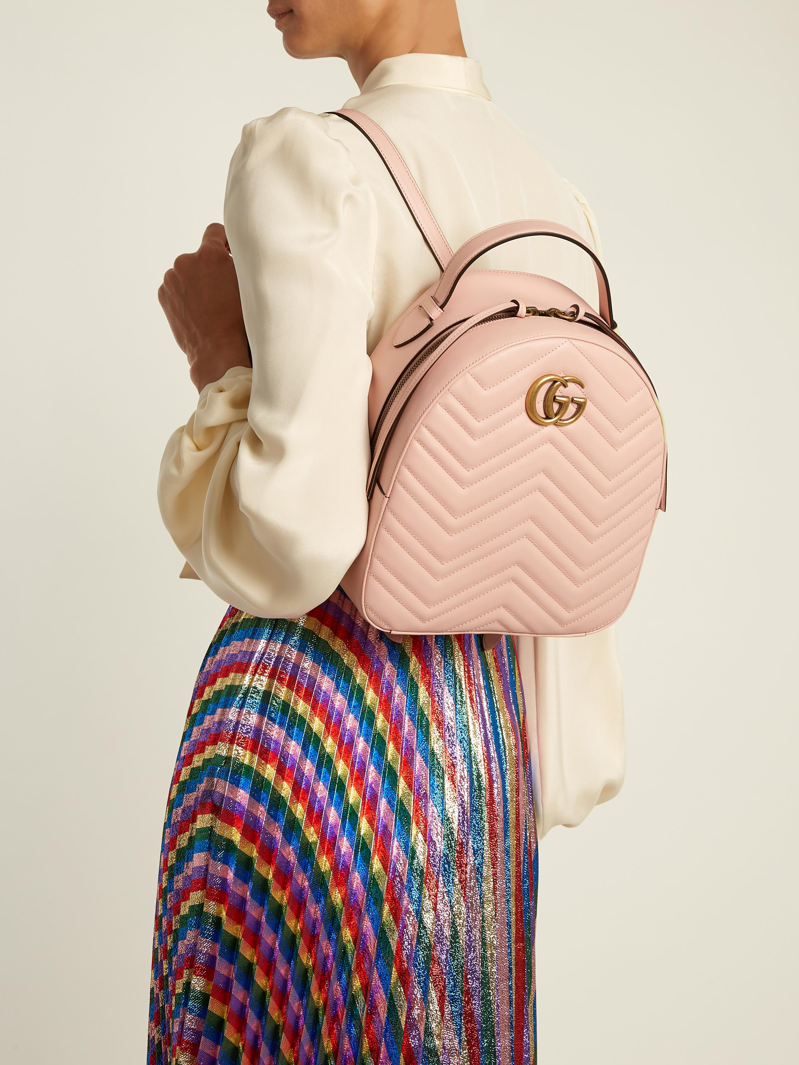 e9504b0a2afb Lyst - Gucci Gg Marmont Quilted-leather Backpack in Pink