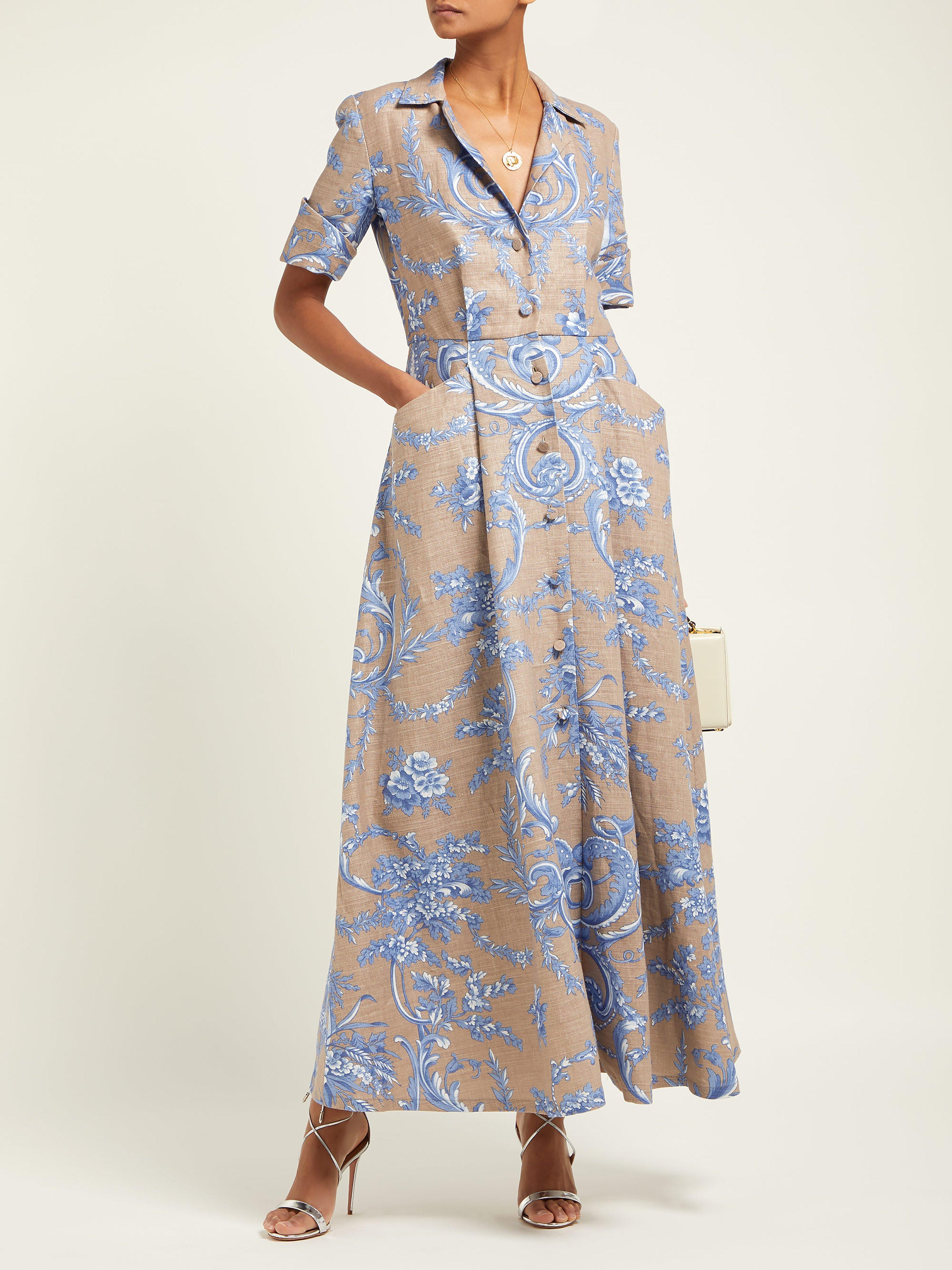f538d7a6cf Marta Ferri Floral Print Pleated Linen Maxi Dress in Blue - Lyst