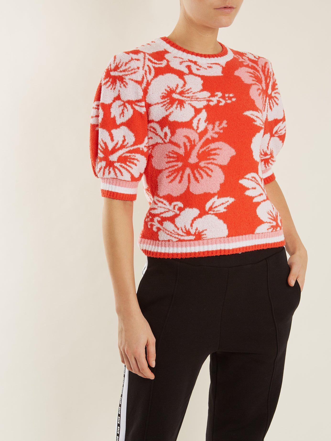 shirt Tissu Msgm Éponge Hawaiian Sweat Imprimé À En q45qzwt
