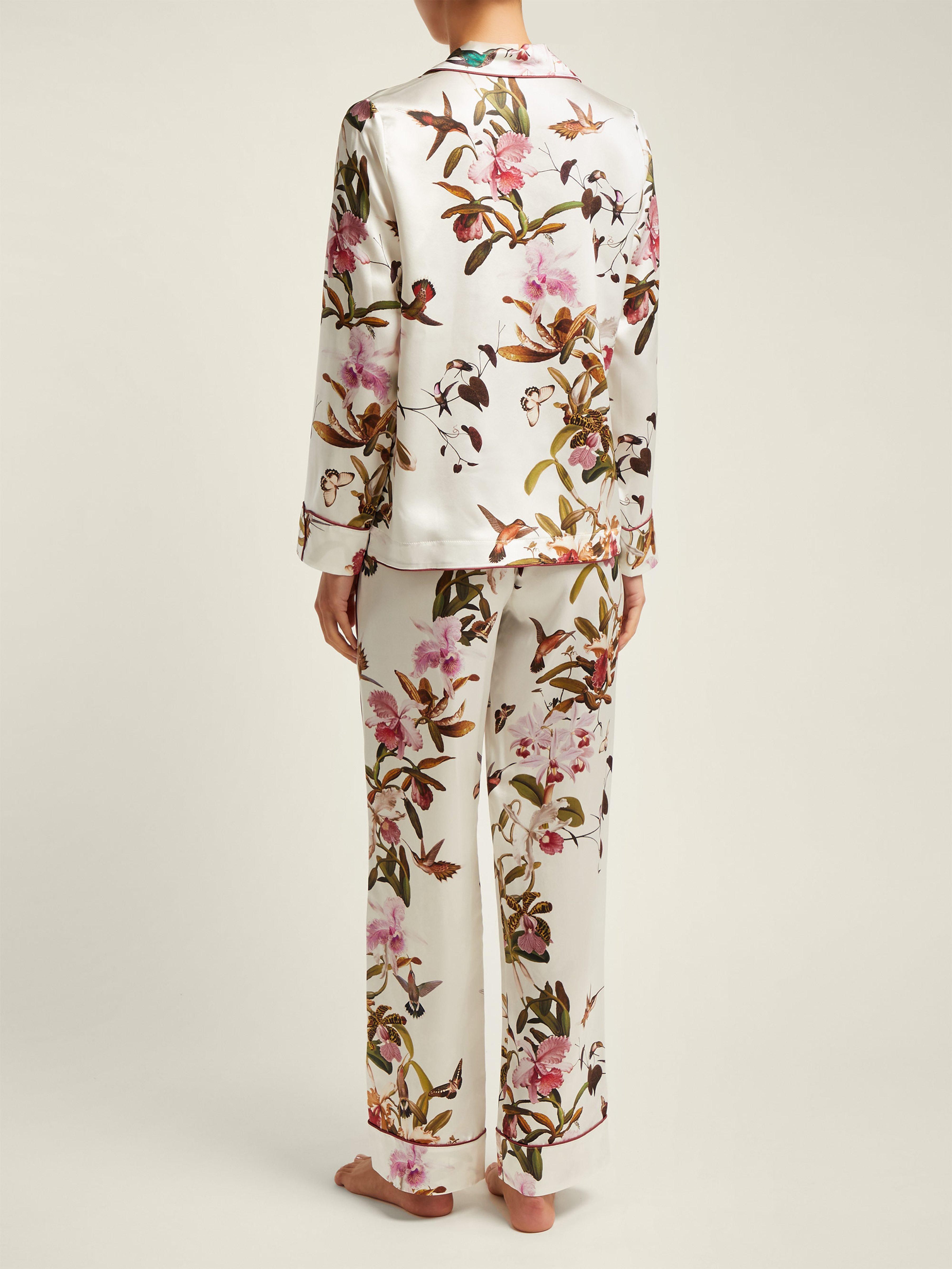 a0e4d07be4 Morpho + Luna - White Colette Floral Print Silk Pyjamas - Lyst. View  fullscreen