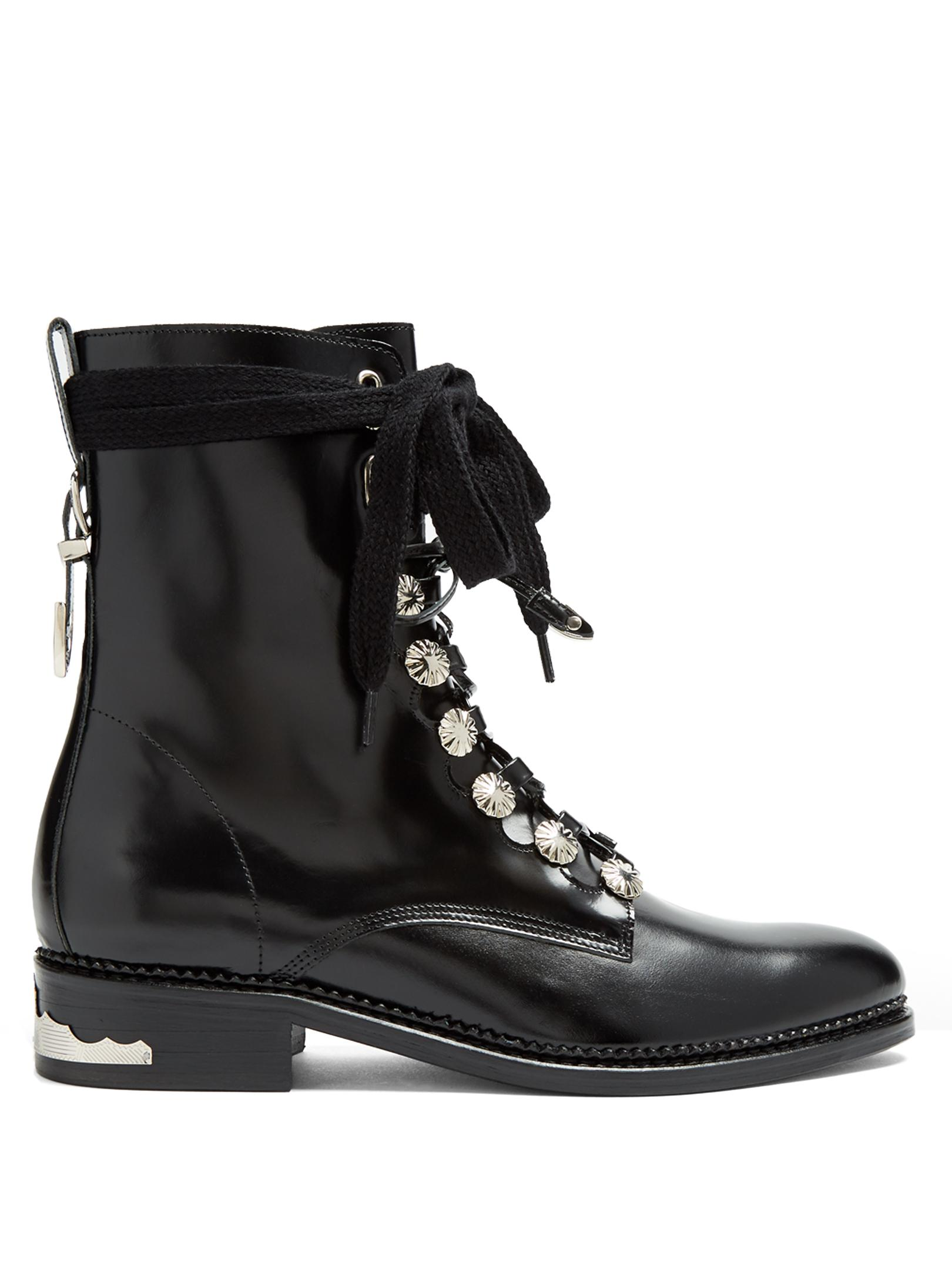 Toga Kiltie Leather Ankle Boots