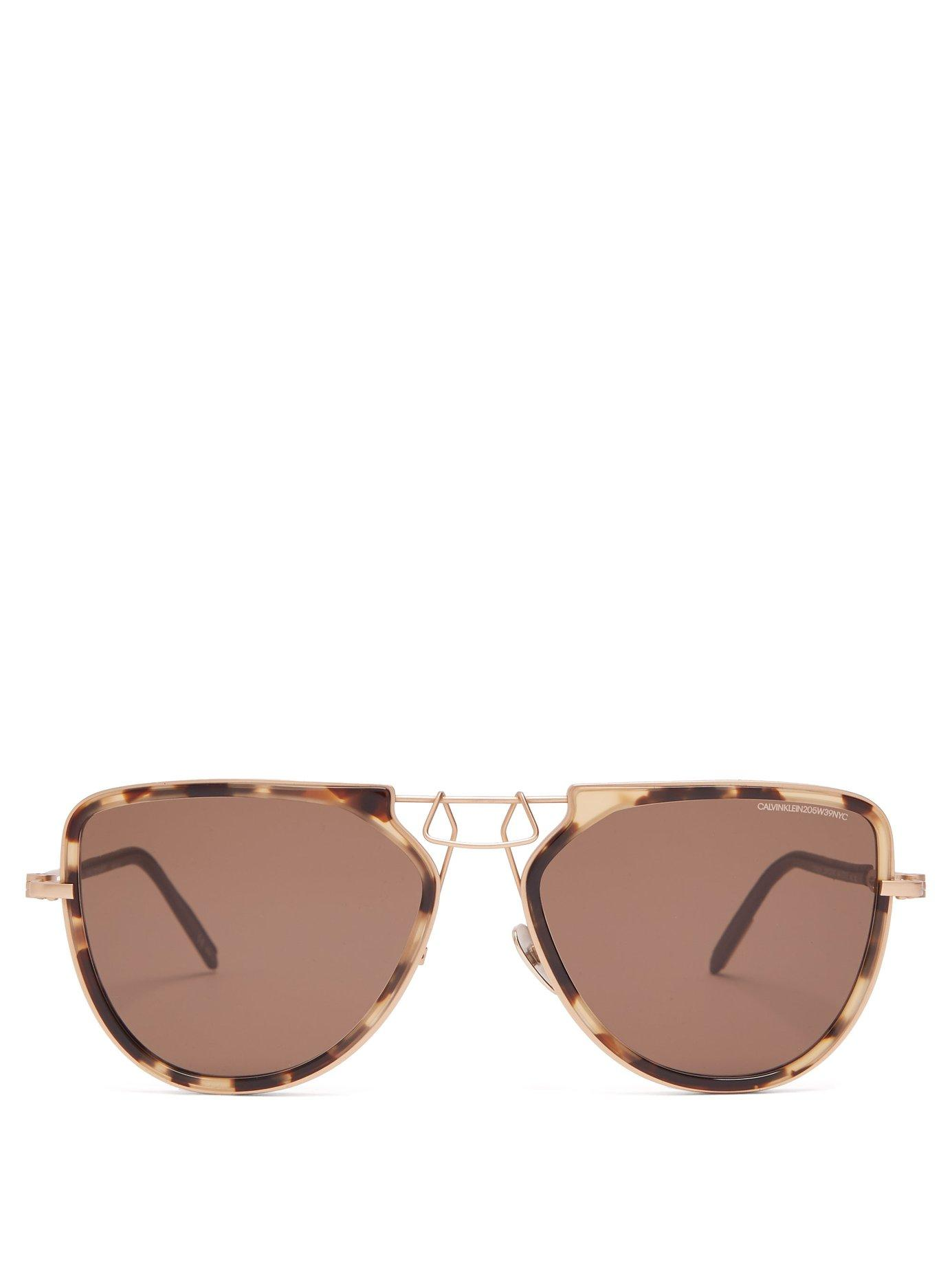571533ecf98 Lyst - CALVIN KLEIN 205W39NYC Square Frame Metal Sunglasses in Brown ...