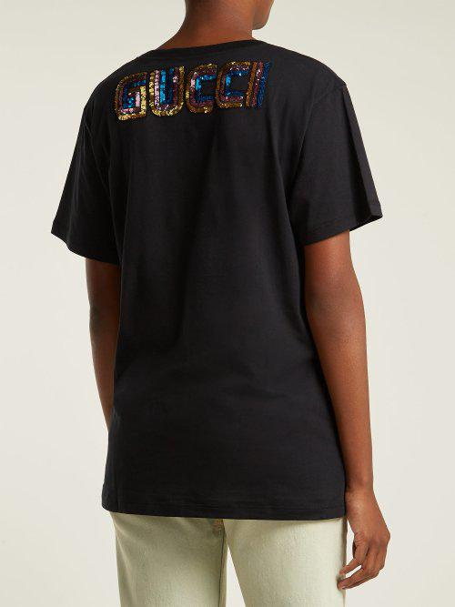 ded792122 Gucci - Black Sequin-embellished Cotton-jersey T-shirt - Lyst. View  fullscreen