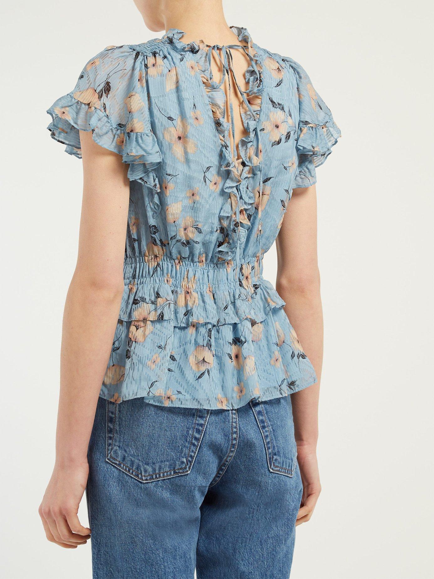 54014d24a28fc Rebecca Taylor - Blue Floral Print Ruffled Silk Blend Blouse - Lyst. View  fullscreen