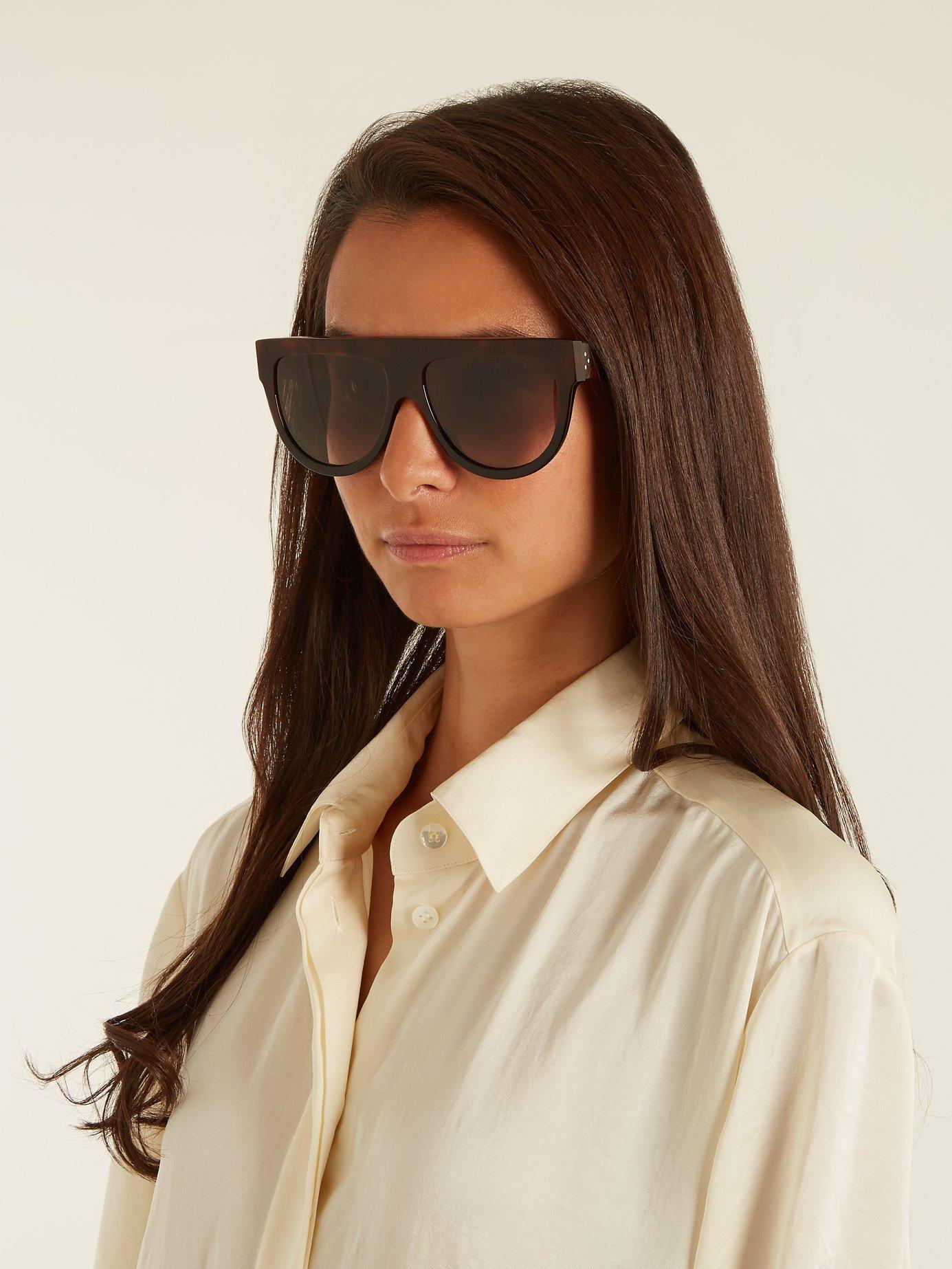 48d5cb79ae37 Lyst - Céline Shadow D Frame Acetate Sunglasses in Brown - Save 3%