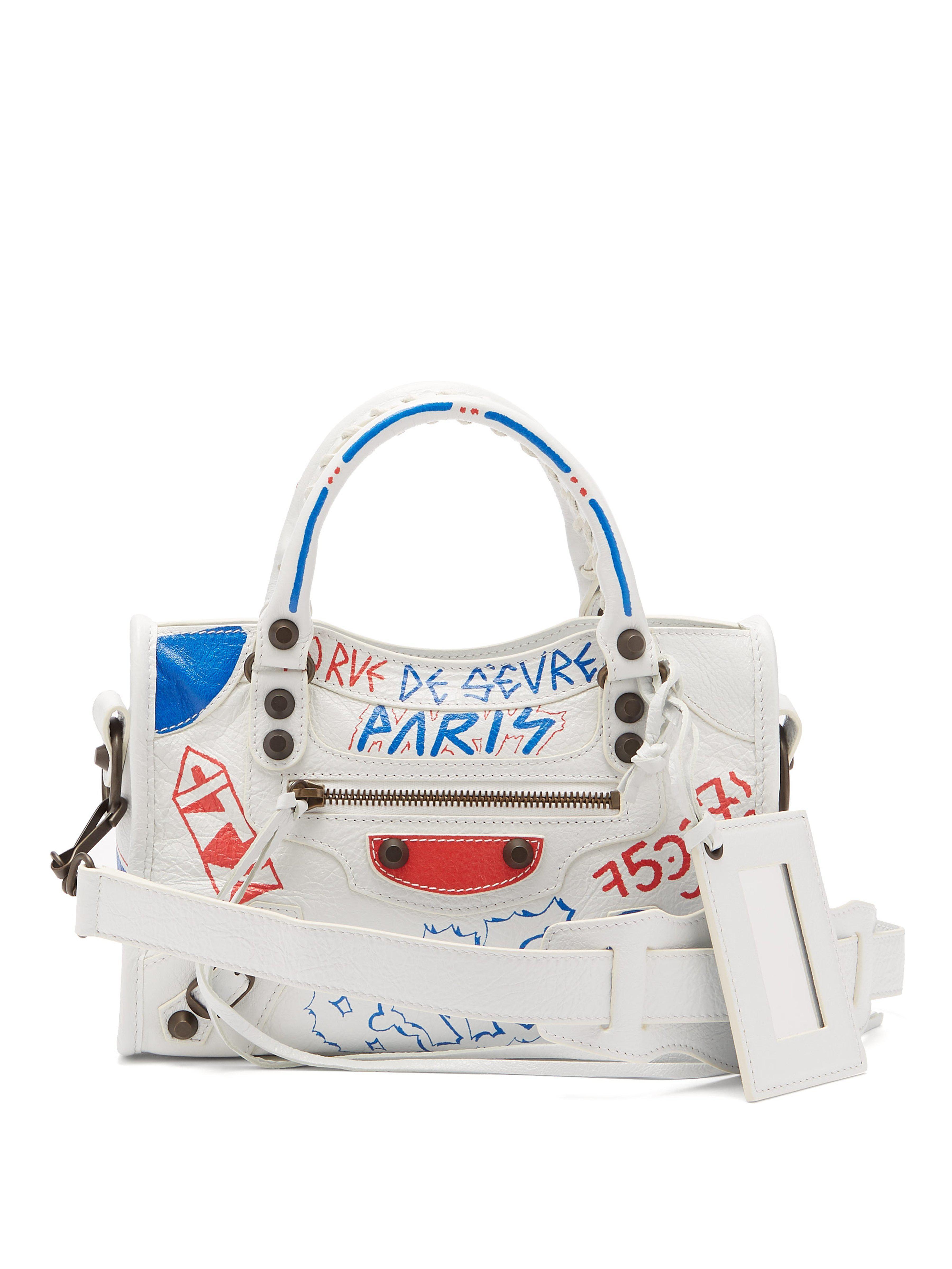 fd4bd6e18f Balenciaga Classic City Mini Graffiti Printed Leather Bag in White ...