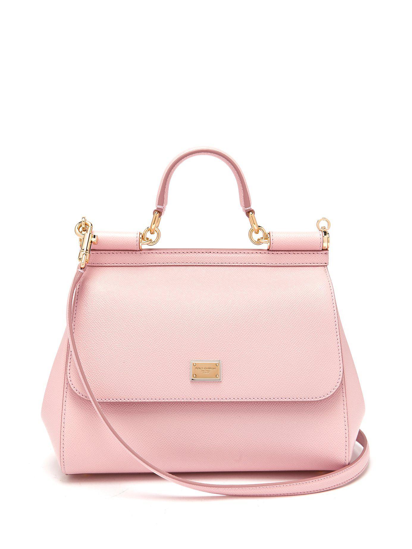 10bd7d903a8b Lyst - Dolce   Gabbana Sicily Medium Dauphine Leather Bag in Pink ...