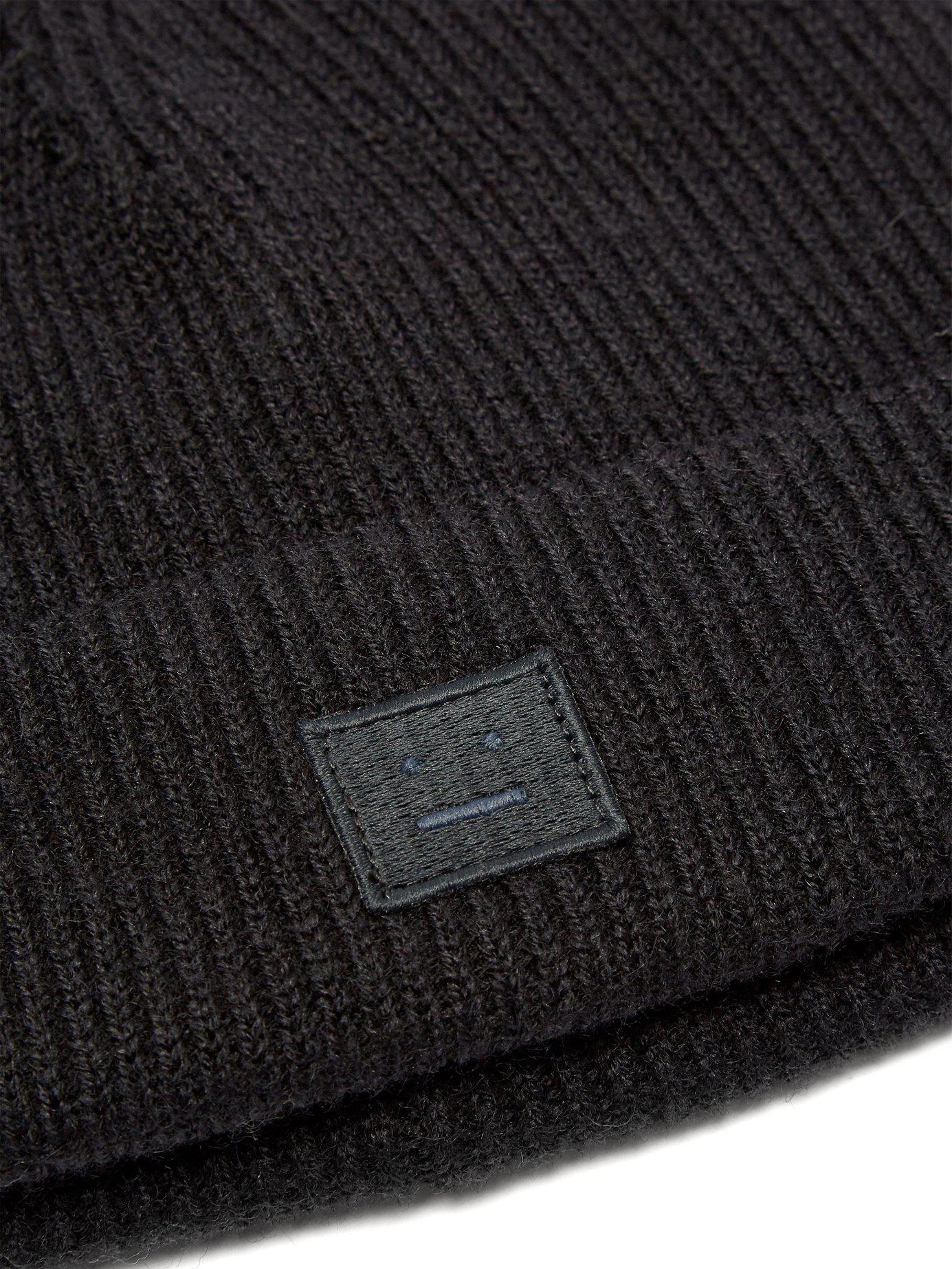 9e31a1e5c2e Acne - Black Kansy Face Wool Blend Beanie Hat for Men - Lyst. View  fullscreen