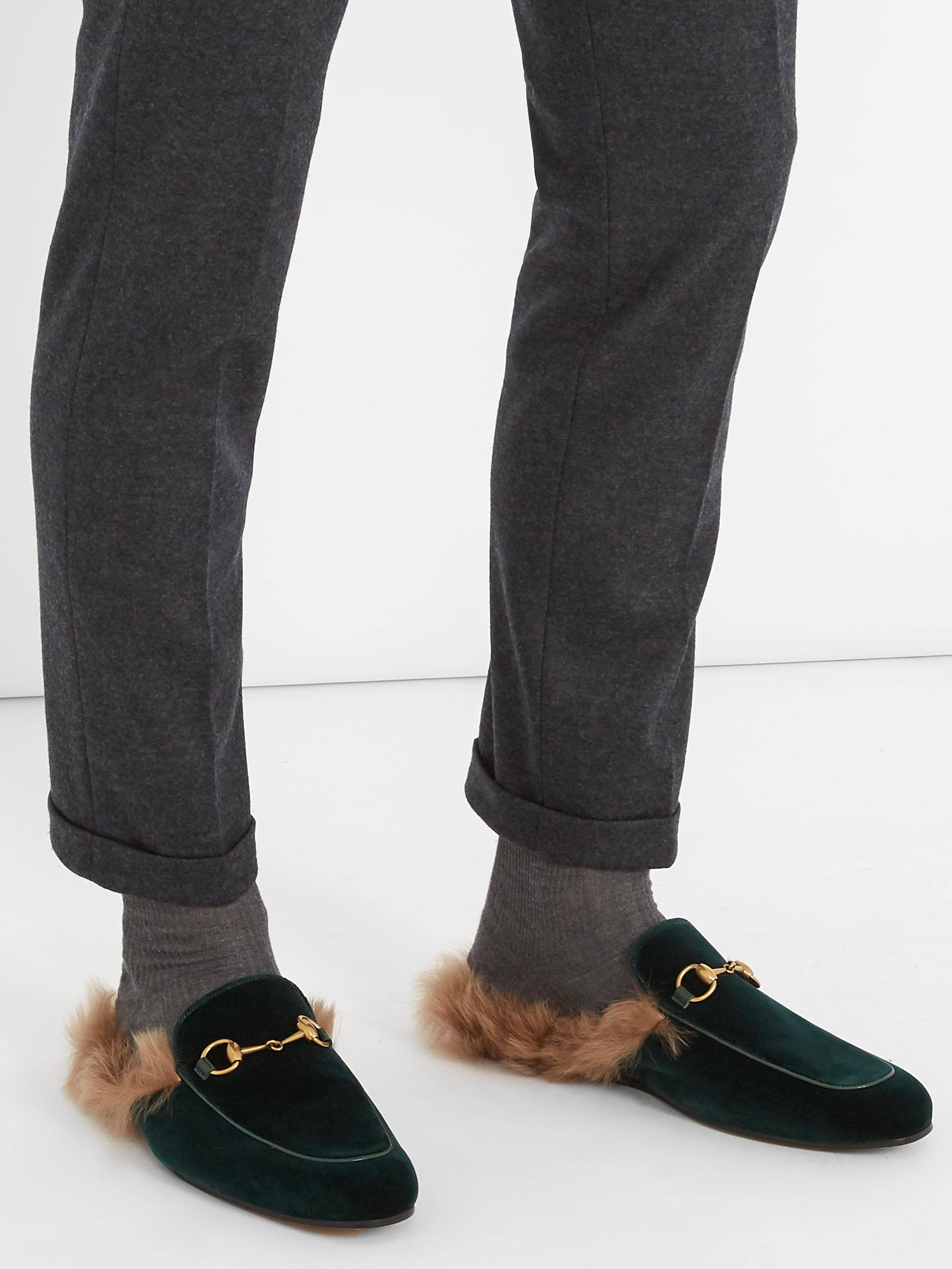 fa17f0b9a3c Lyst - Gucci Princetown Fur-lined Velvet Loafers for Men