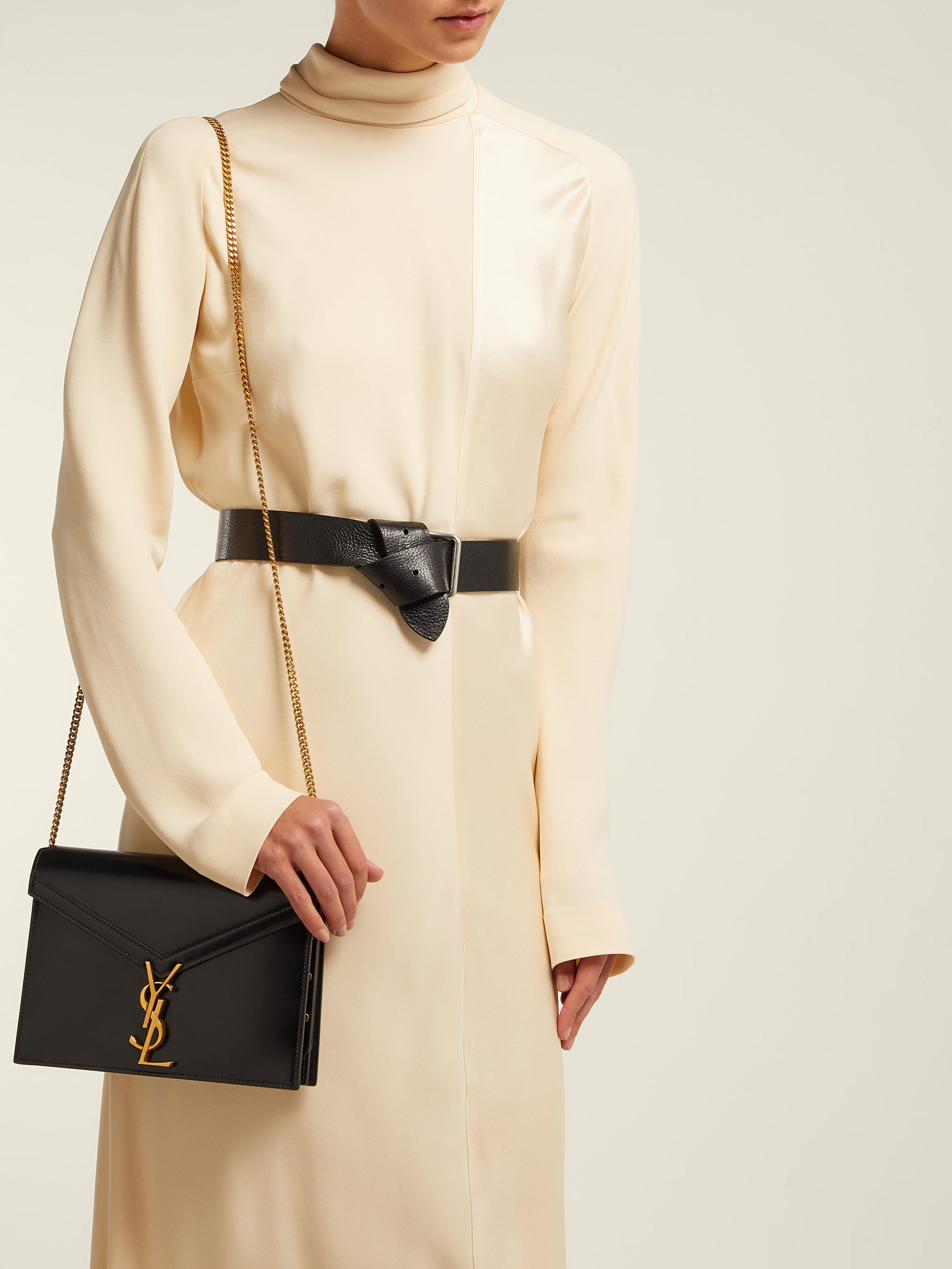 1580ad38c52bb Saint Laurent Cassandra Monogram Leather Cross Body Bag in Black - Lyst