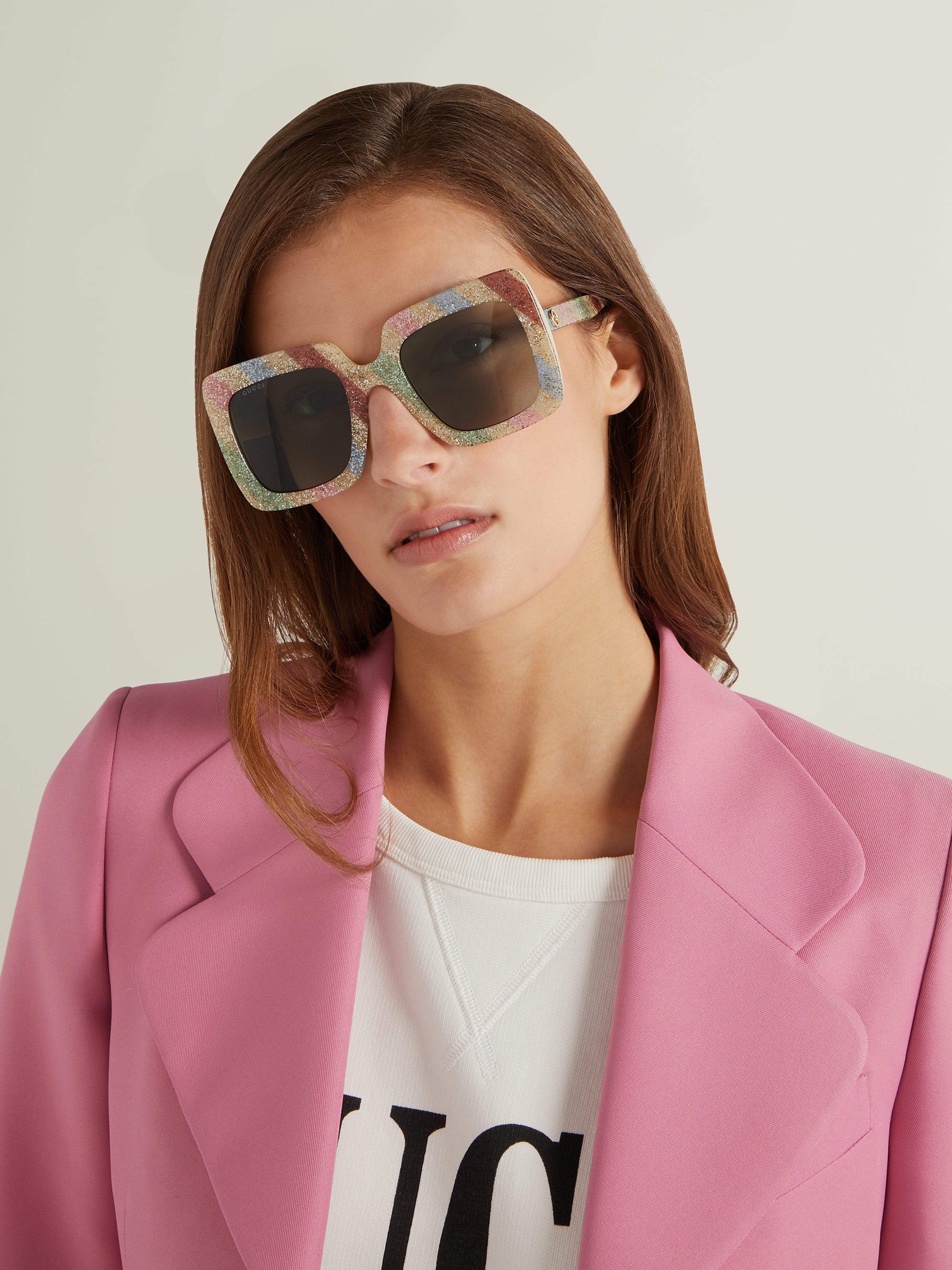 d027ce7ff Gucci Glitter Stripe Square Acetate Sunglasses - Lyst