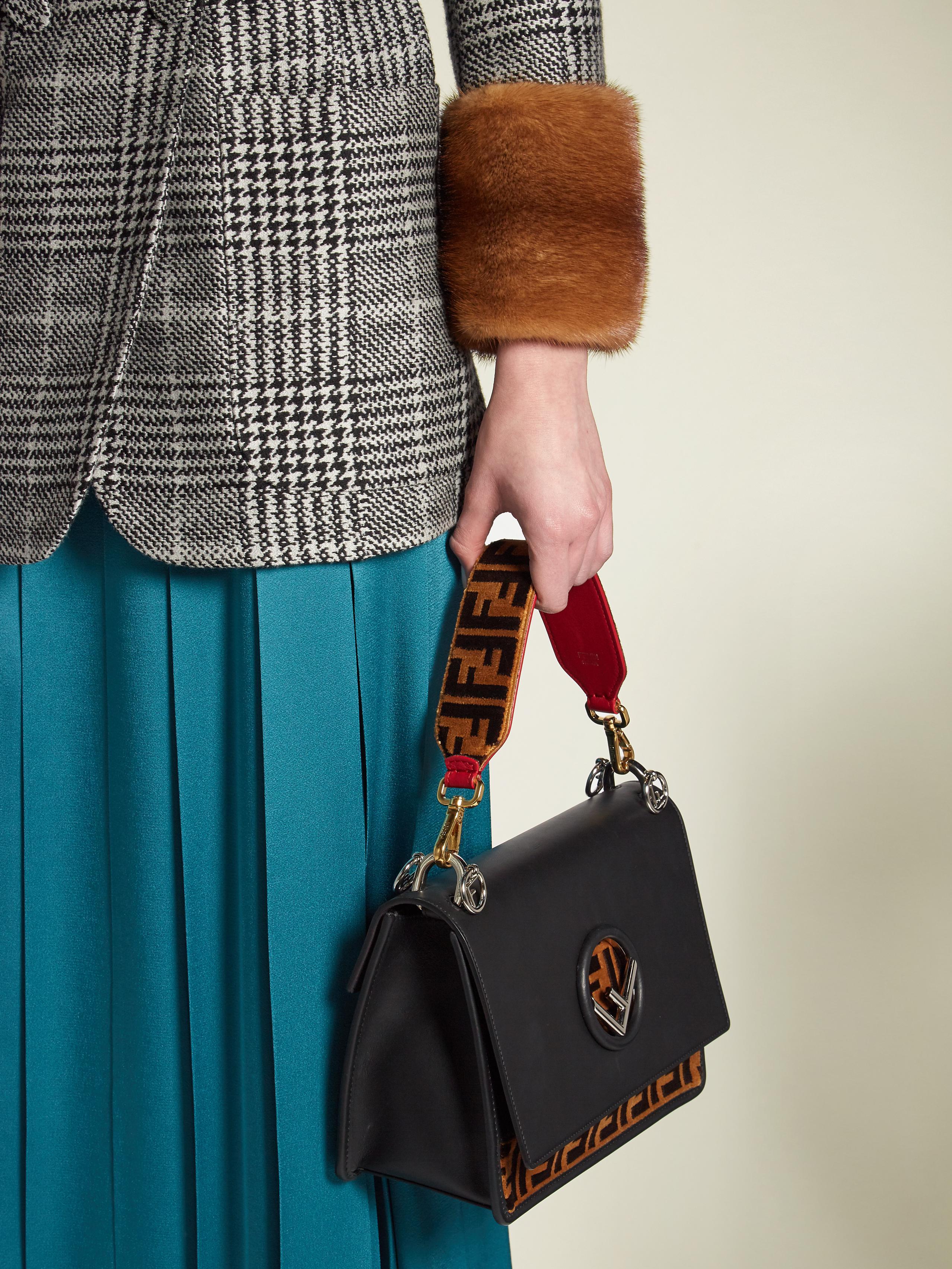1d168b4b4adc1 Lyst - Fendi Strap You Logo-print Velvet Short Bag Strap in Brown
