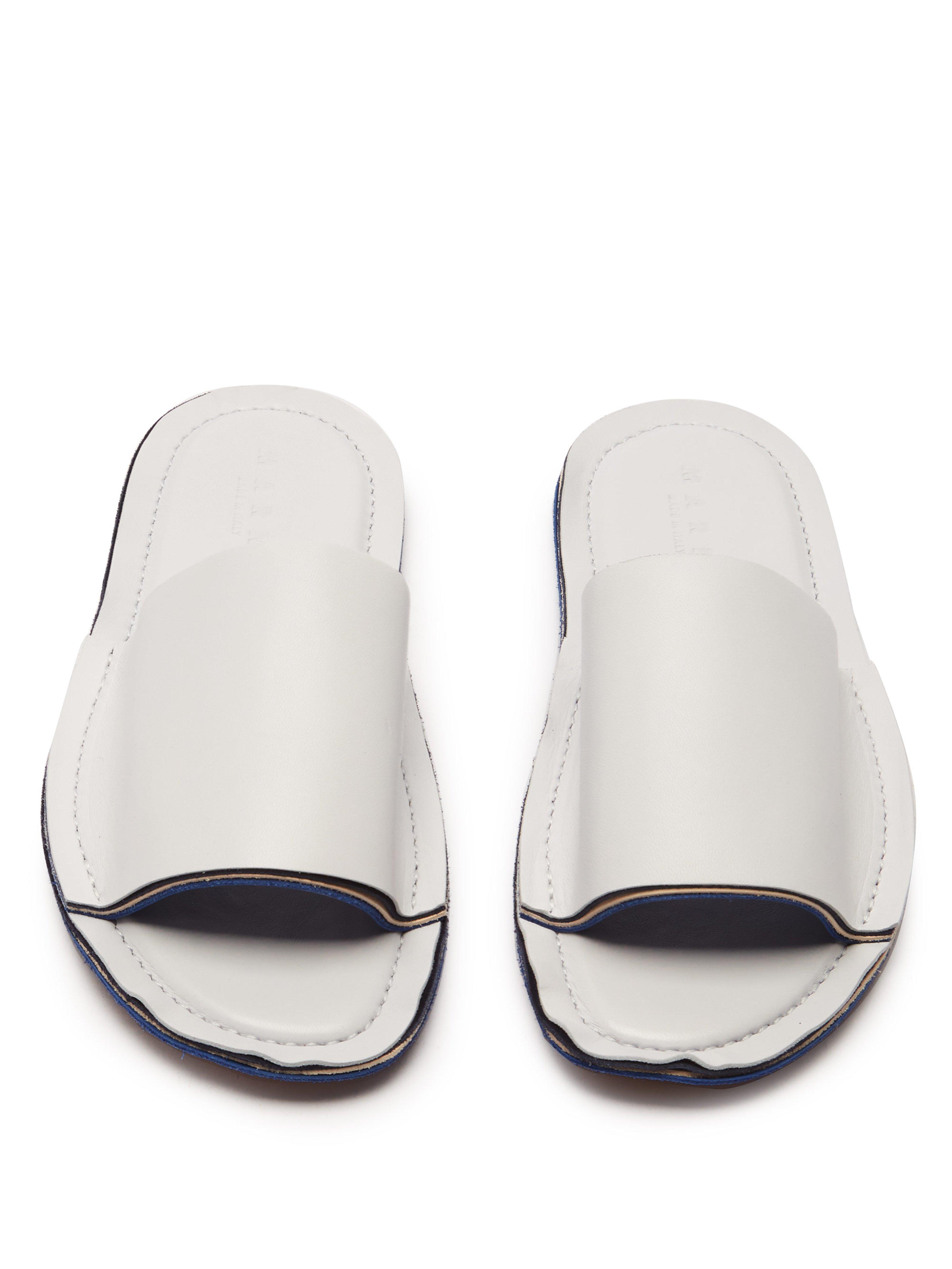 a71bae19118d Marni - White Raw Edge Leather Slides - Lyst. View fullscreen