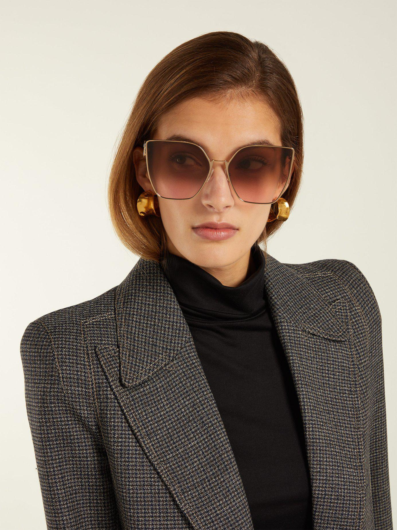 caac4dece5 Fendi F Is Cat Eye Metal Sunglasses in Metallic - Lyst