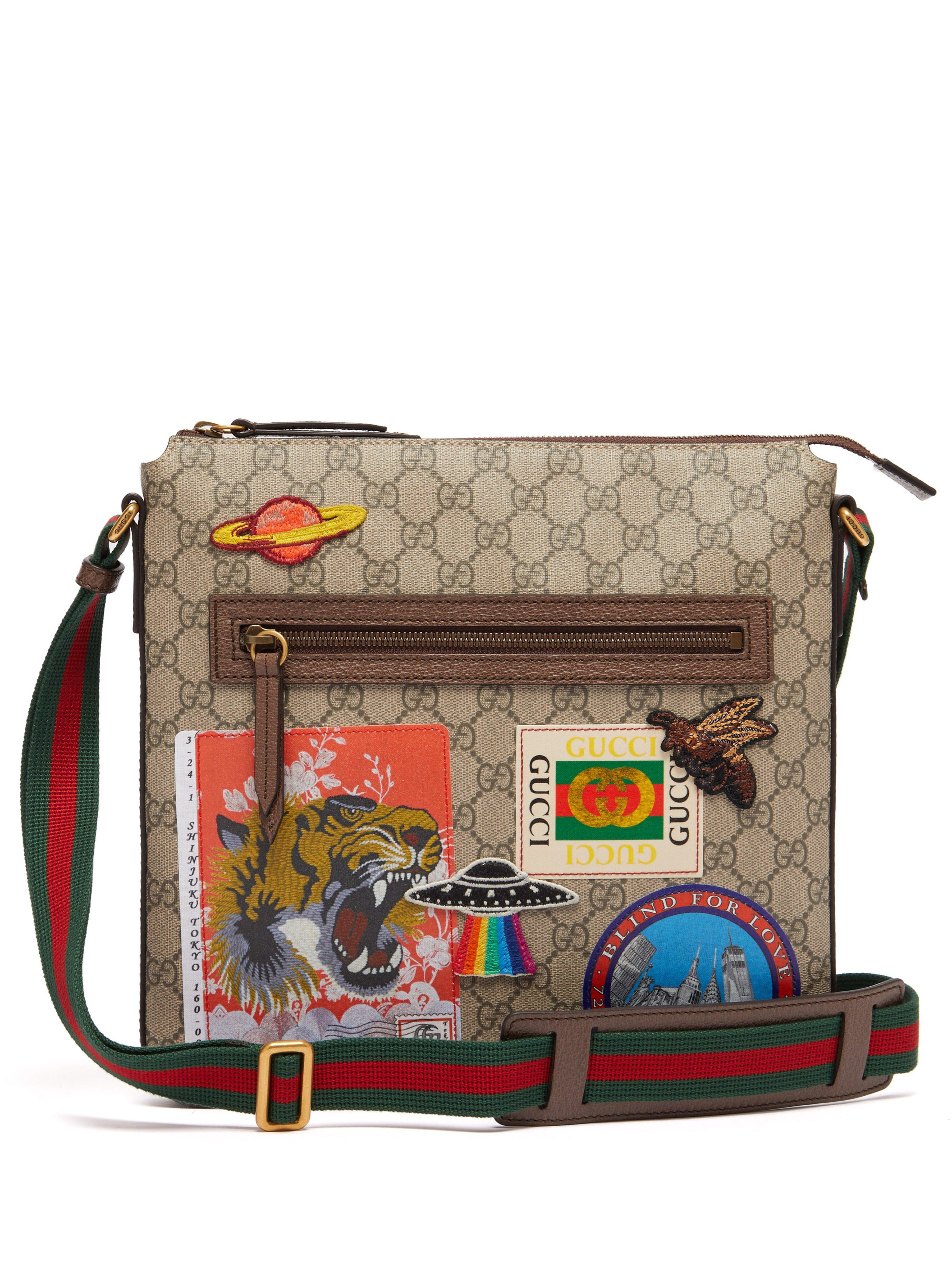 e0cf48dbdf5 Gucci - Multicolor Gg Supreme Ufo Logo Patch Messenger Bag for Men - Lyst.  View fullscreen