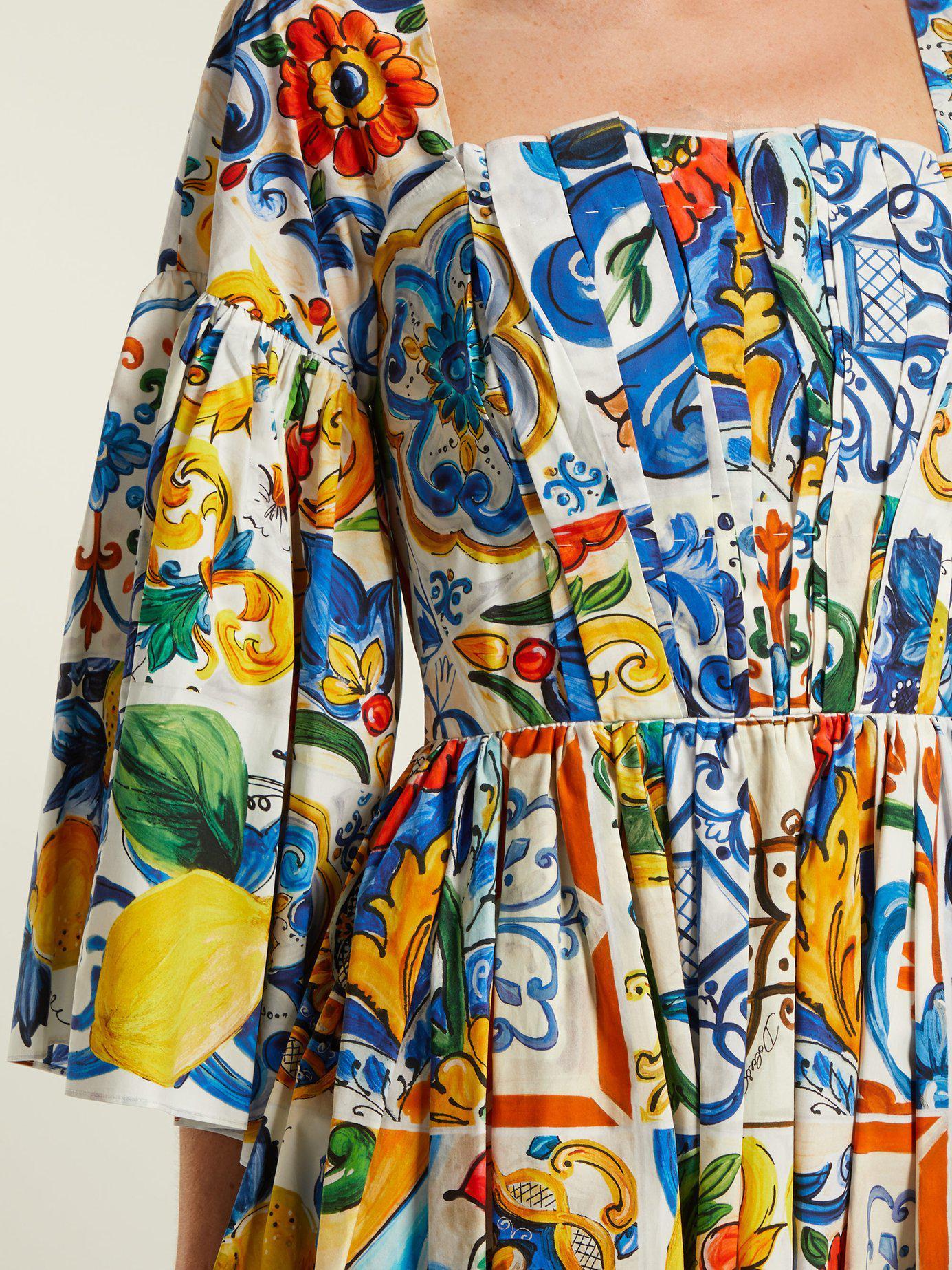 1a8c228b0dac Dolce   Gabbana - Blue Majolica Print Square Neck Cotton Poplin Dress -  Lyst. View fullscreen