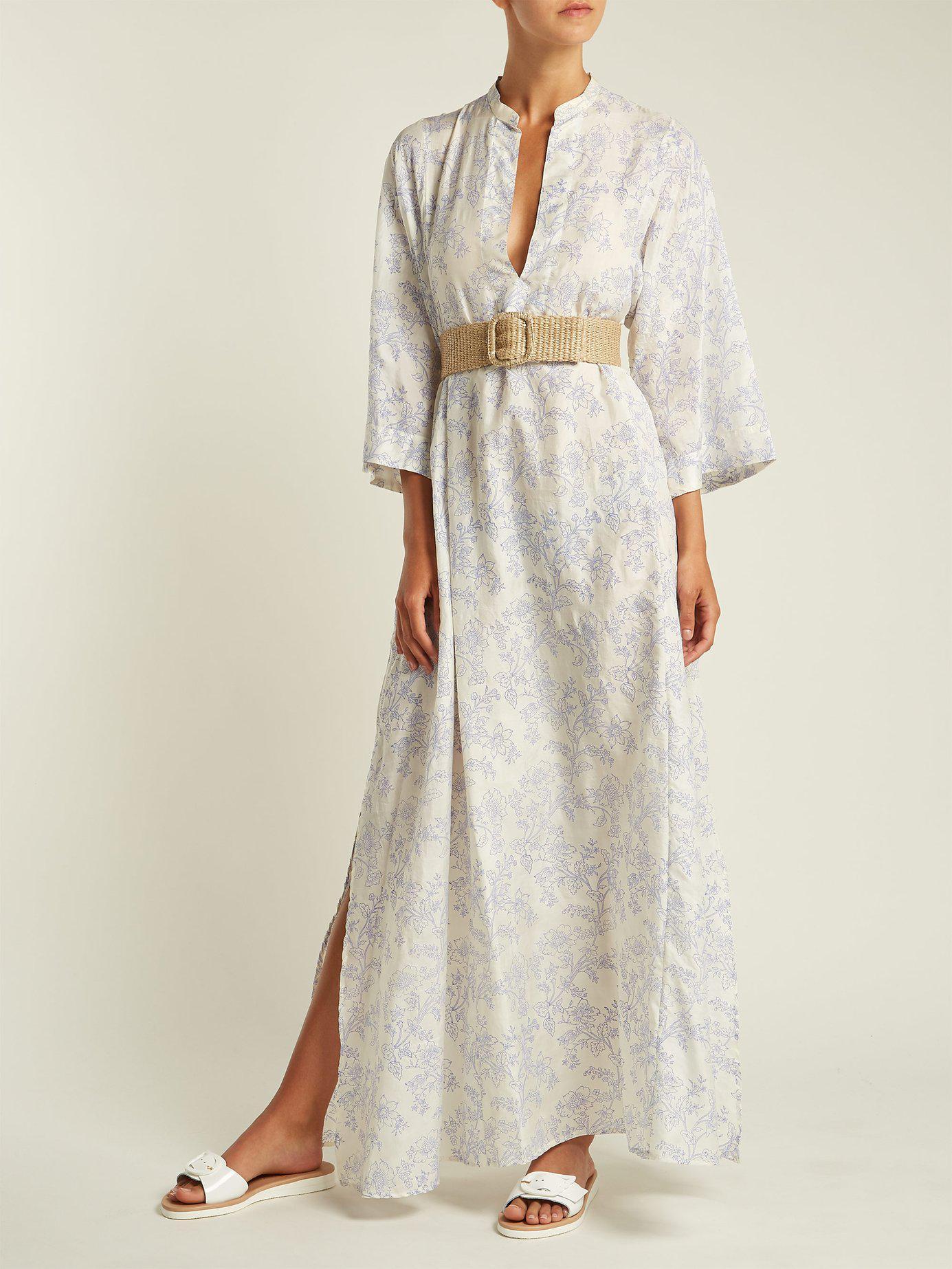 b06c41fc24 Lyst - Thierry Colson Rachel Floral Print Silk Kaftan in White