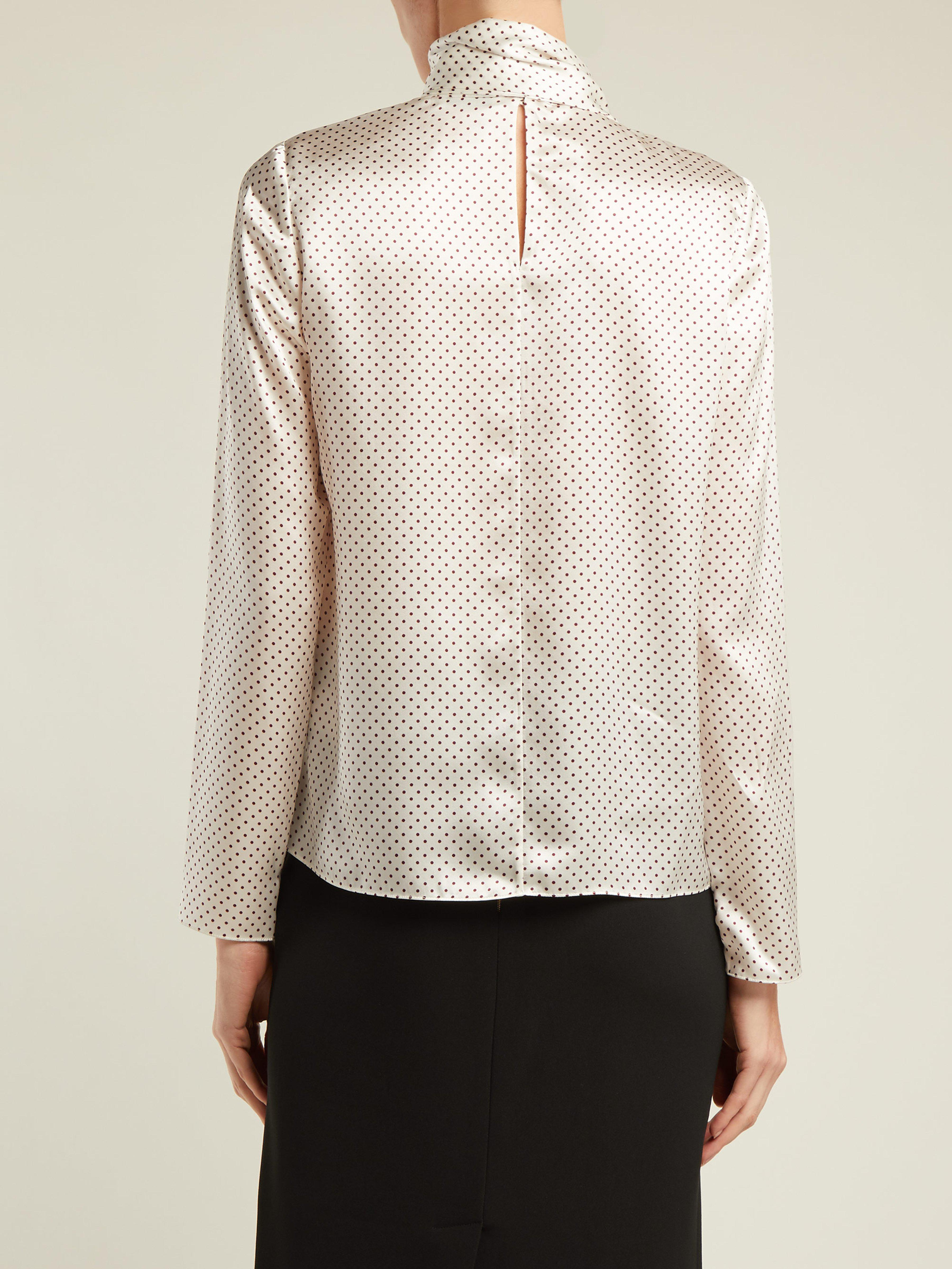 4f853dedac670 Erdem Yvonna Polka Dot Print Silk Blouse in White - Lyst