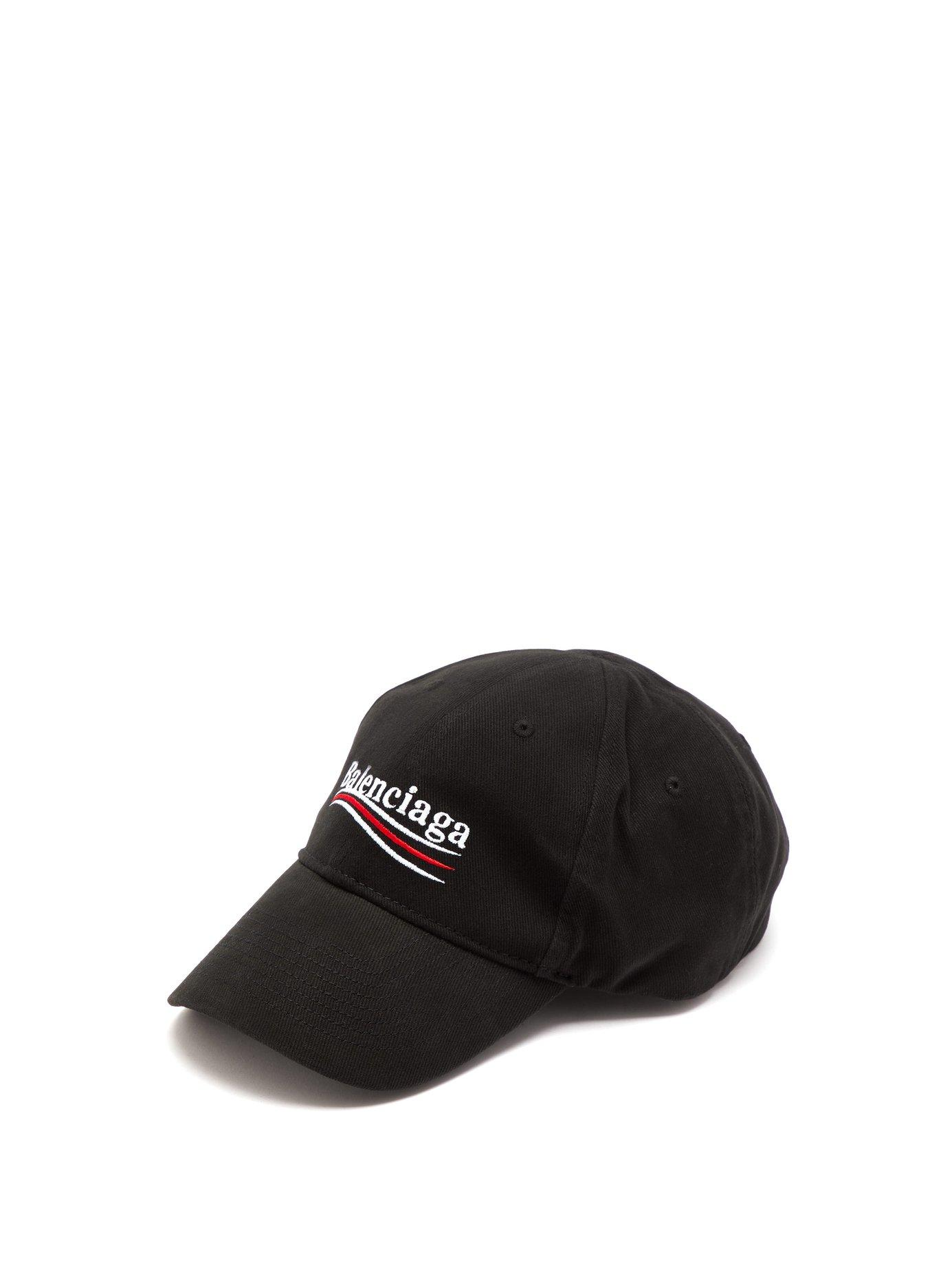 6f9d4ff3070e5 Lyst - Balenciaga Logo Embroidered Cotton Cap in Black