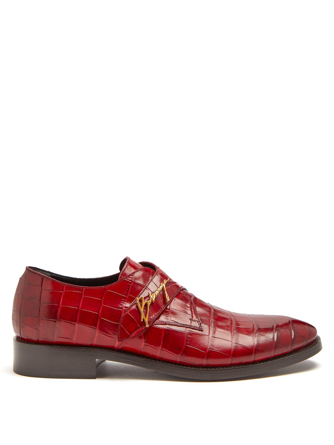 f035c4e778d7 Lyst - Balenciaga Crocodile Effect Leather Derby Shoes in Red for Men