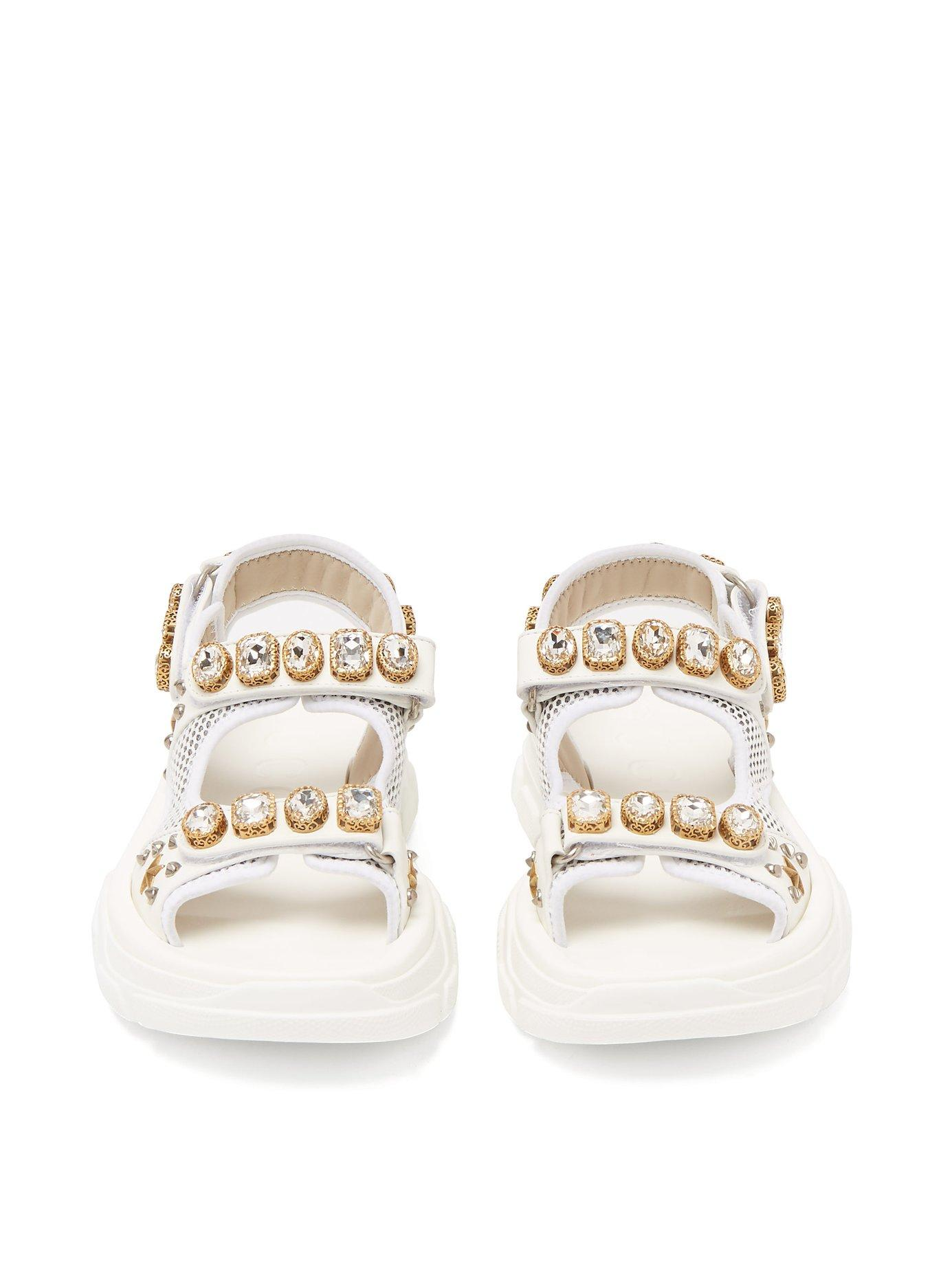 9760643c90d Gucci - White Crystal Embellished Leather And Mesh Sandal - Lyst. View  fullscreen