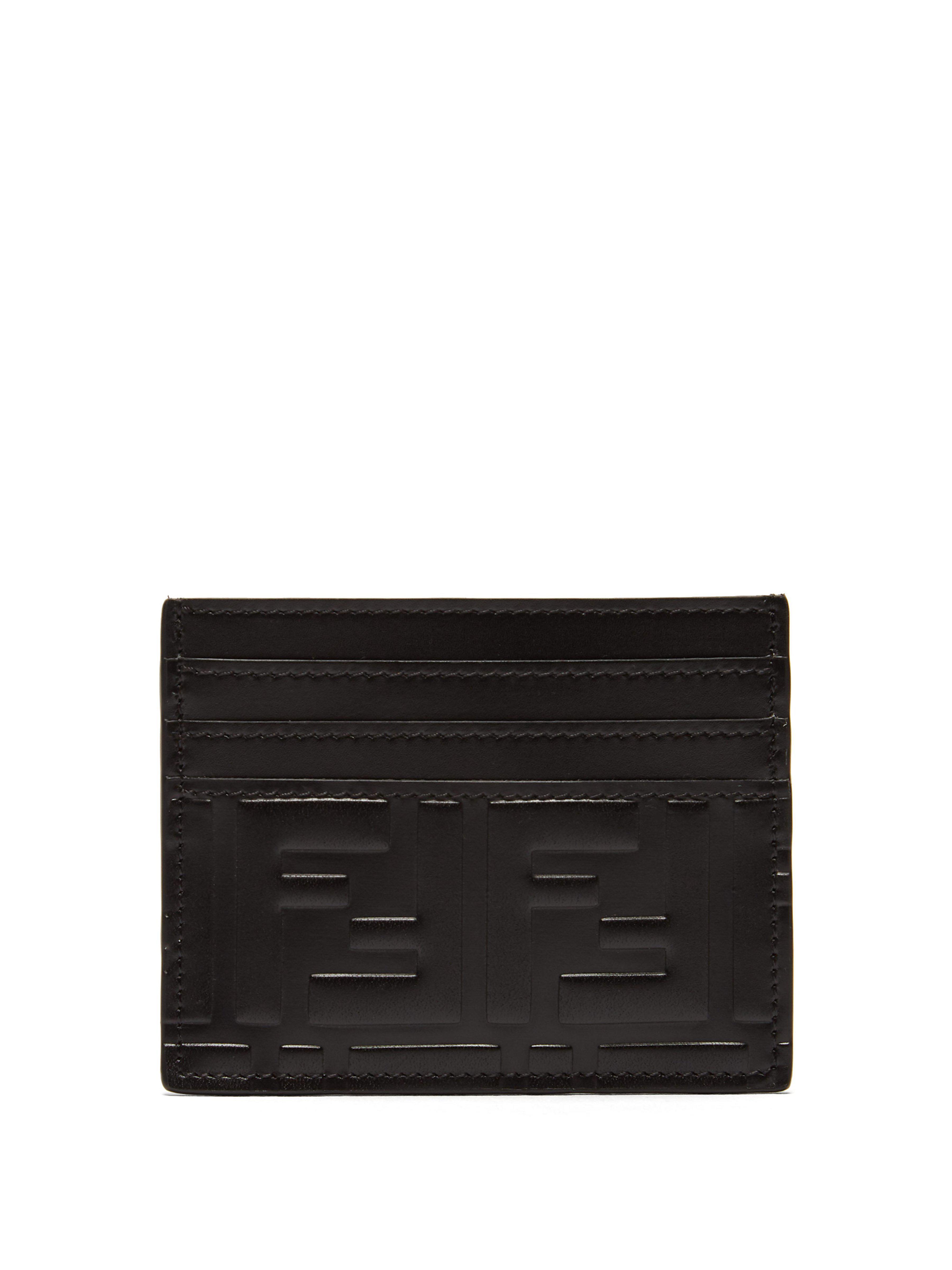 44c7d90d385 Lyst - Porte-cartes en cuir à logo embossé Fendi pour homme en ...