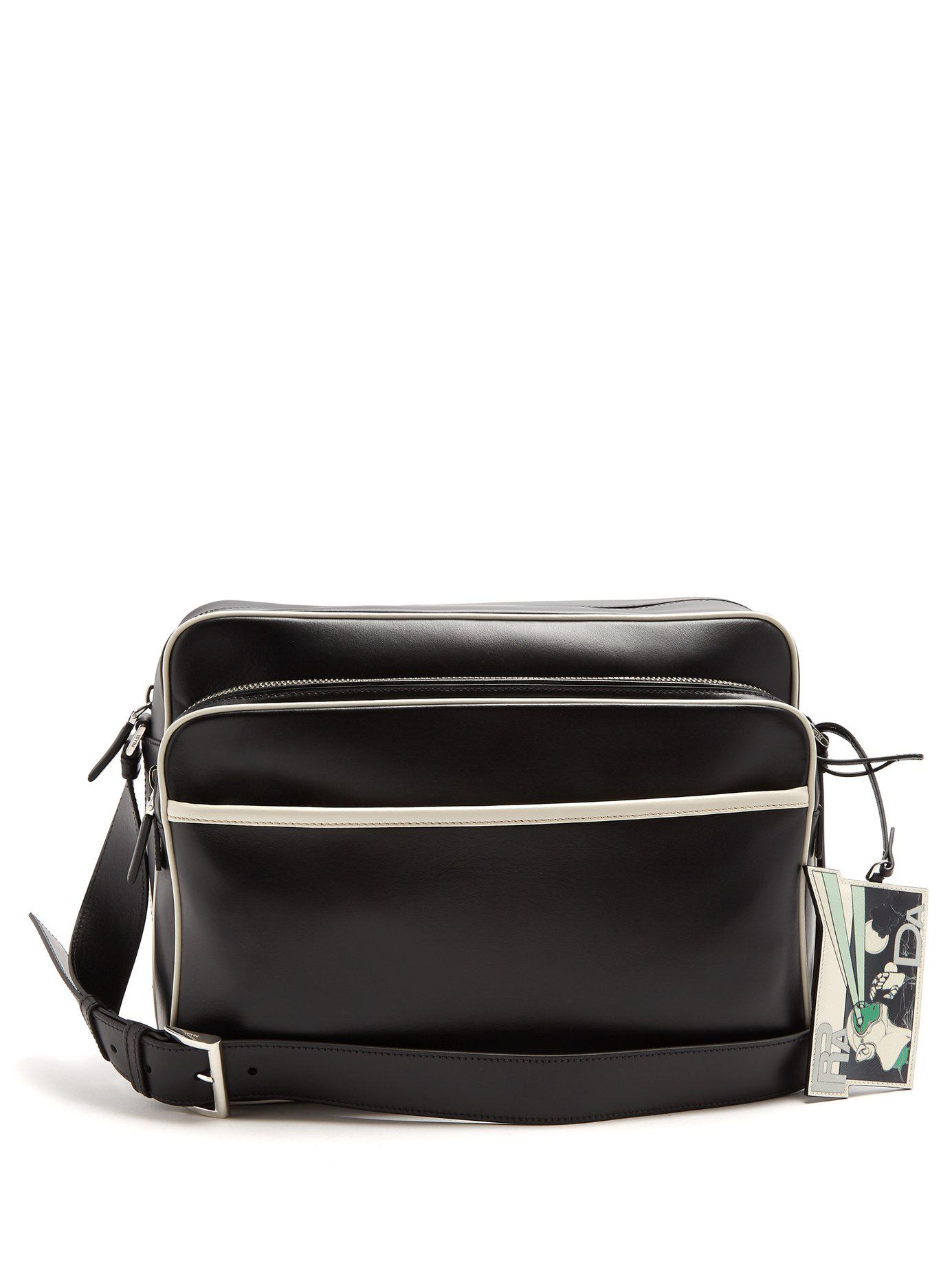 13dcdfb1b8c9a ... new zealand prada. mens black contrast piping leather messenger bag  85076 6b6d8