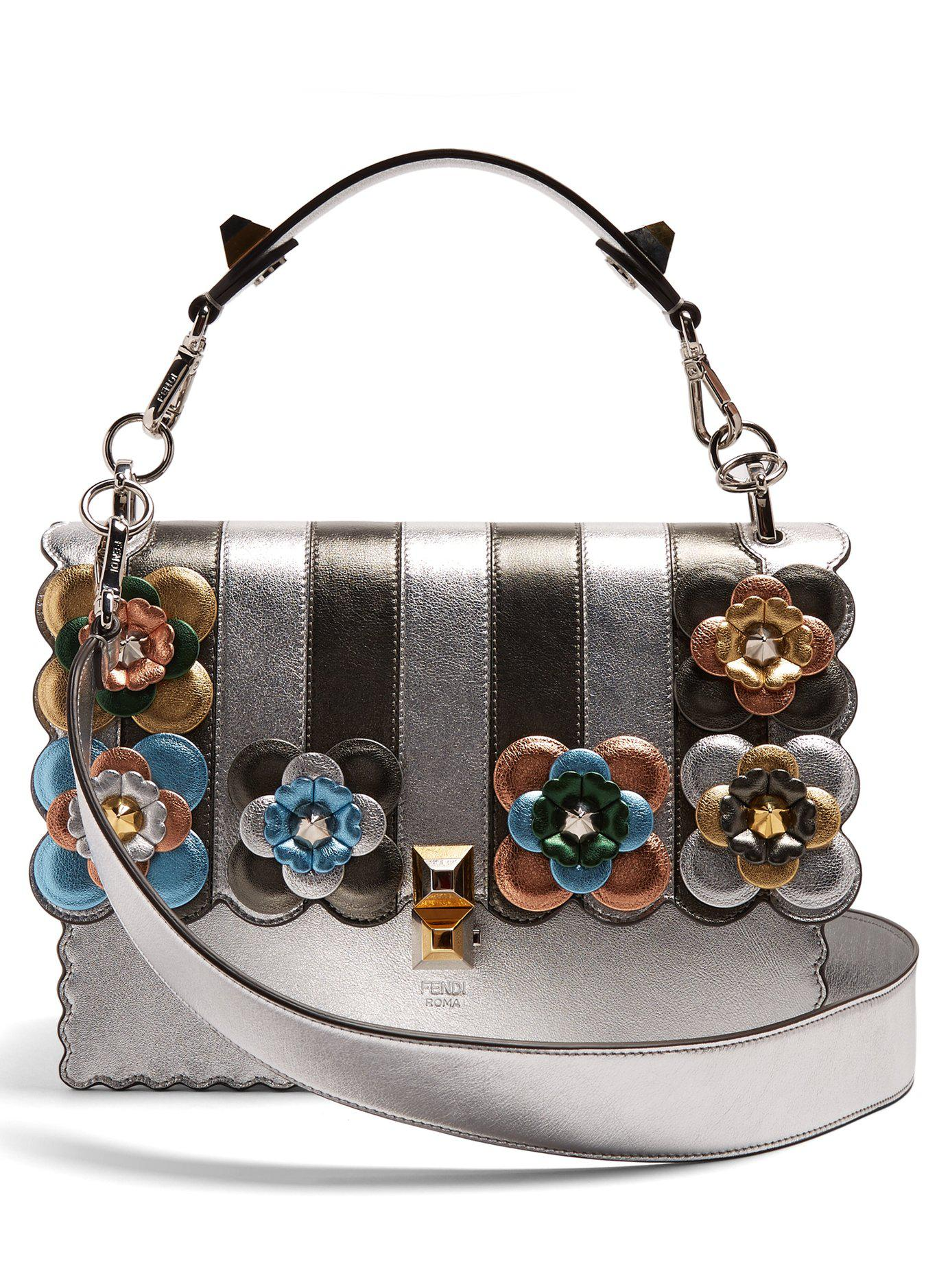 Lyst - Fendi - Kan I Flower Appliqué Leather Shoulder Bag - Womens ... 97eb80d616868