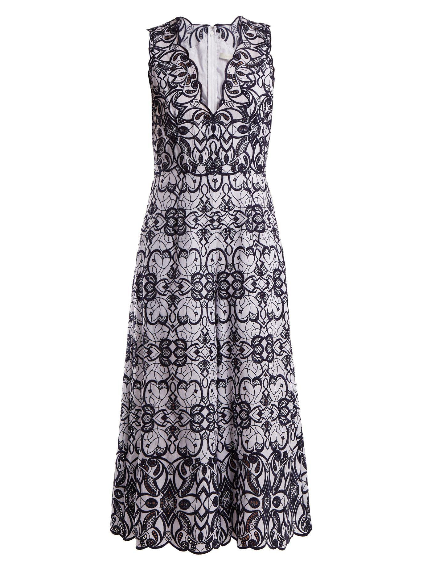1cee4909bfb4 Lyst - Jonathan Simkhai V Neck Geometric Embroidered Cotton Jumpsuit ...