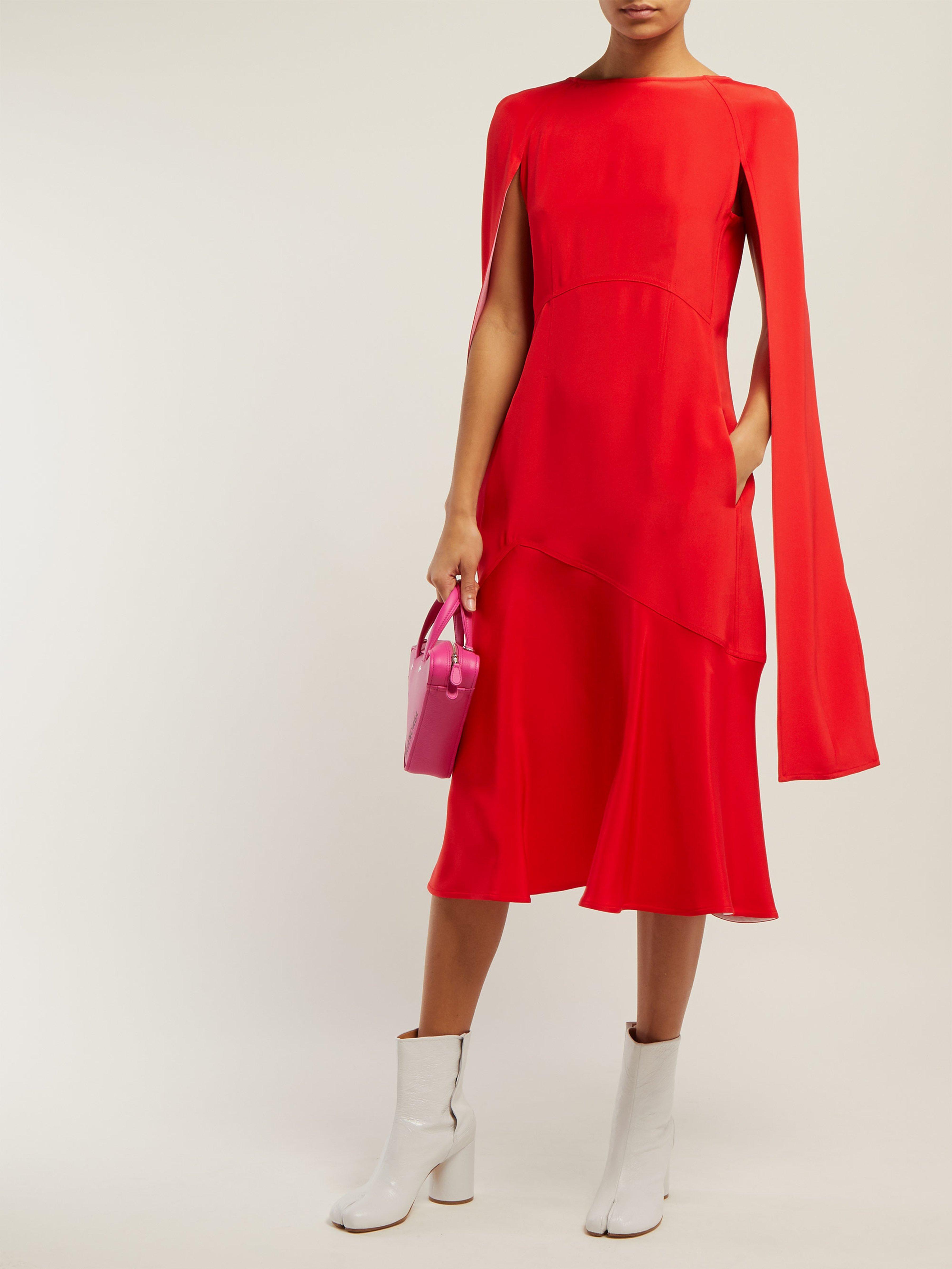 27ace91f3a CALVIN KLEIN 205W39NYC - Red Cape Sleeve Silk Cady Mini Dress - Lyst. View  fullscreen